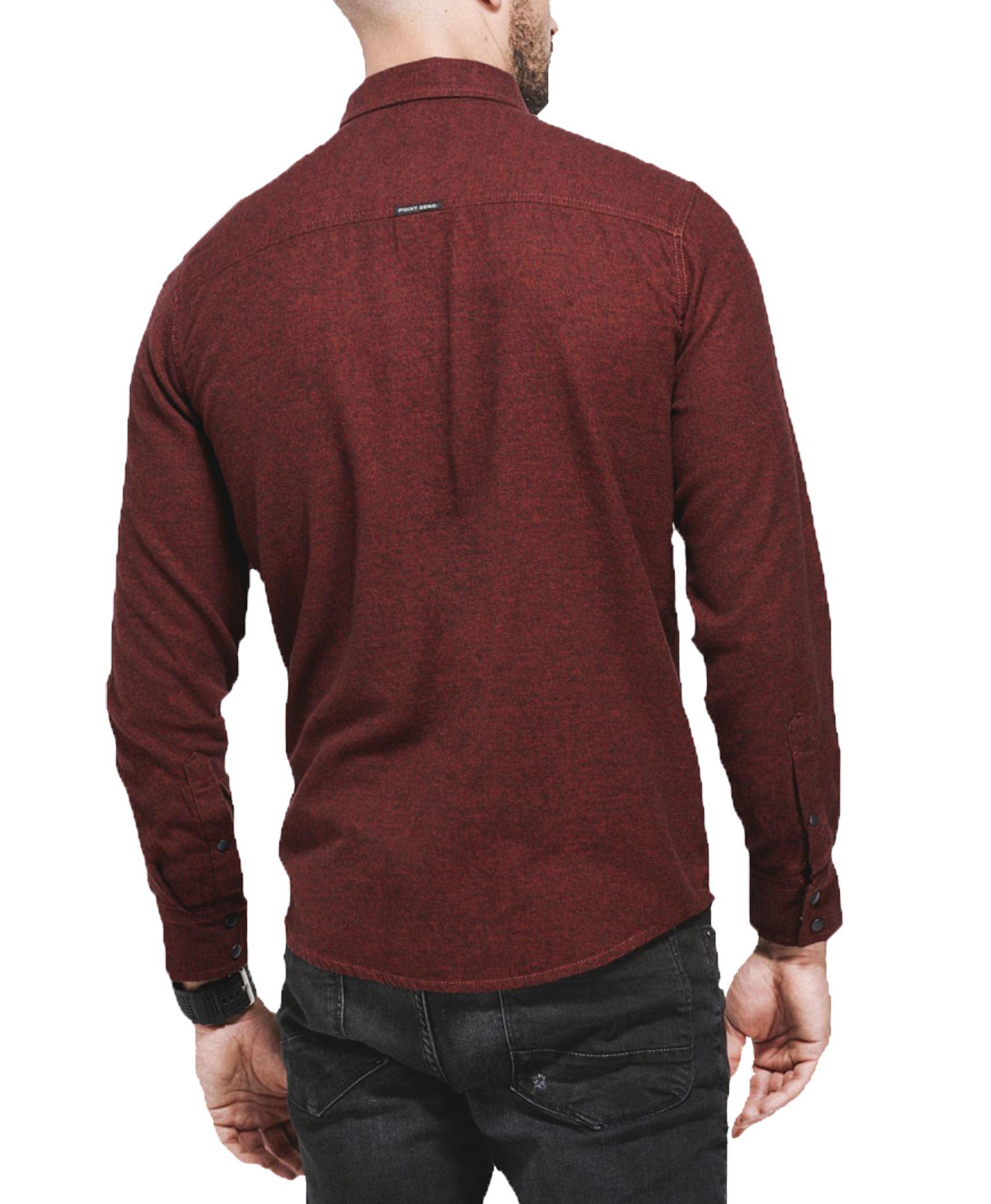 Da Uomo POINT ZERO pianura camicia 100 Cotone Manica Lunga Top Casual Eleganti S-XXL RRP 60