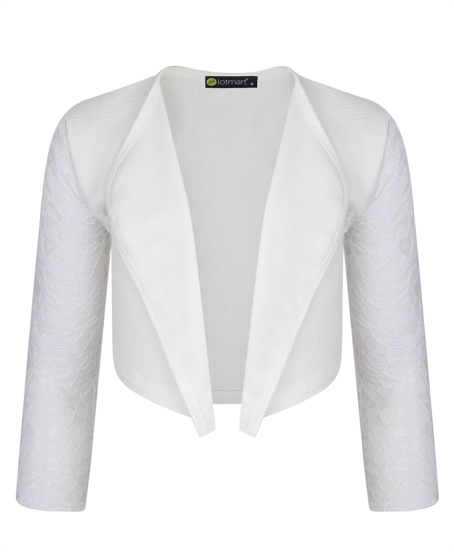 A lovely white bolero jacket for your little girl by Kids Dream. It is a cropped top bolero with a swirl pattern. This bolero is designed to match with fabulous dresses or other clothing items.