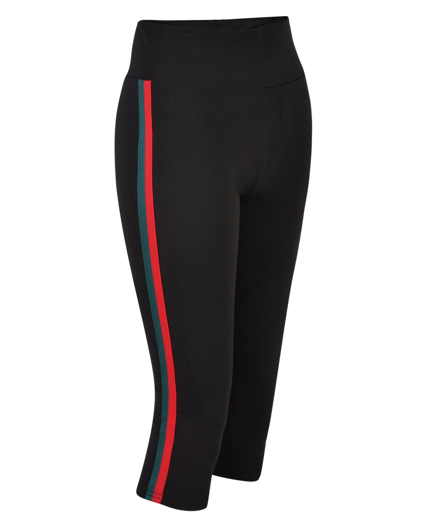 Women Gym Sport Leggings Side Striped Ladies Active Wear