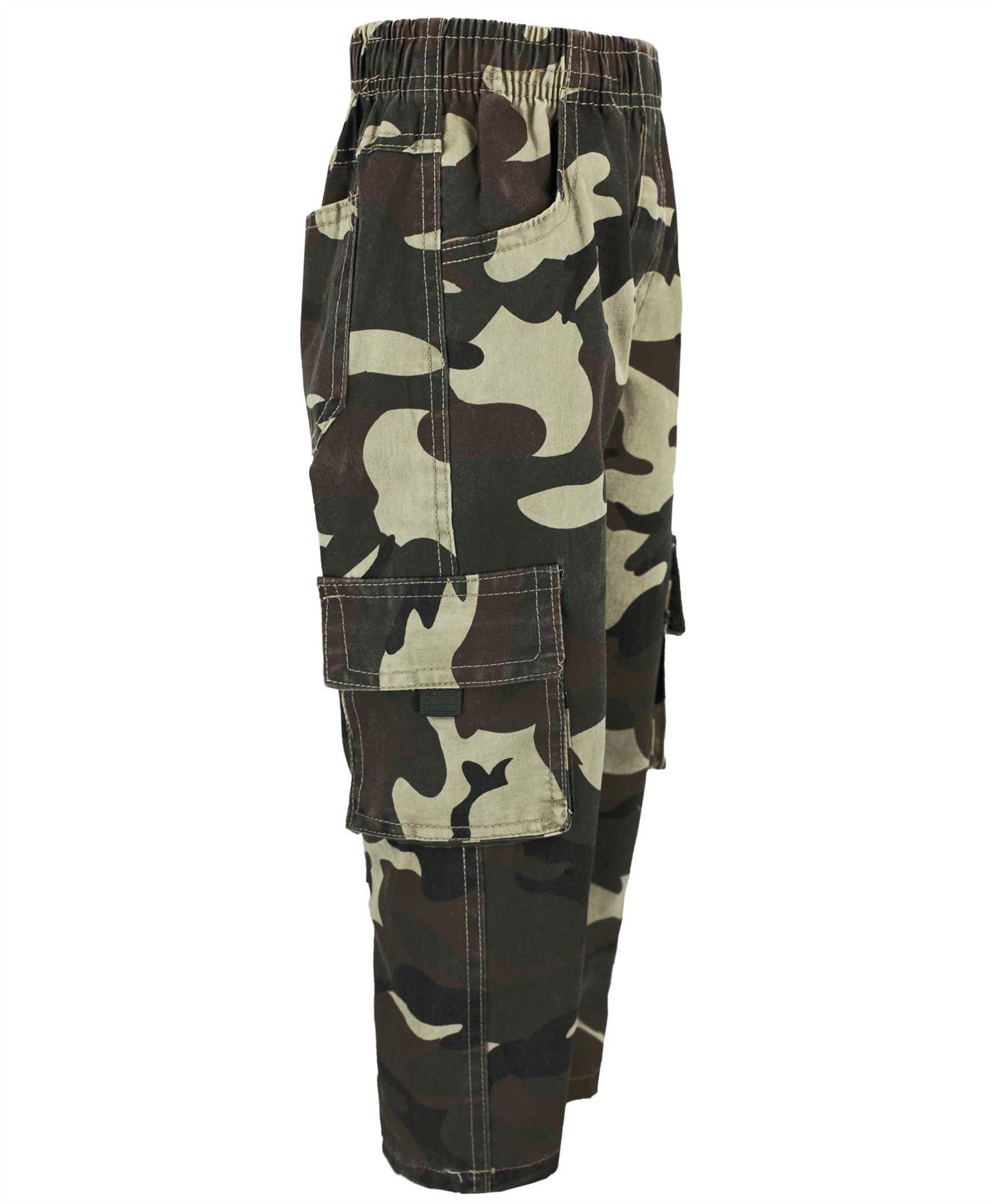 Kids-multipocket-camouflage-pantalon-garcons-armee-imprimer-cargo-combat-pantalon-4-14-ans miniature 6