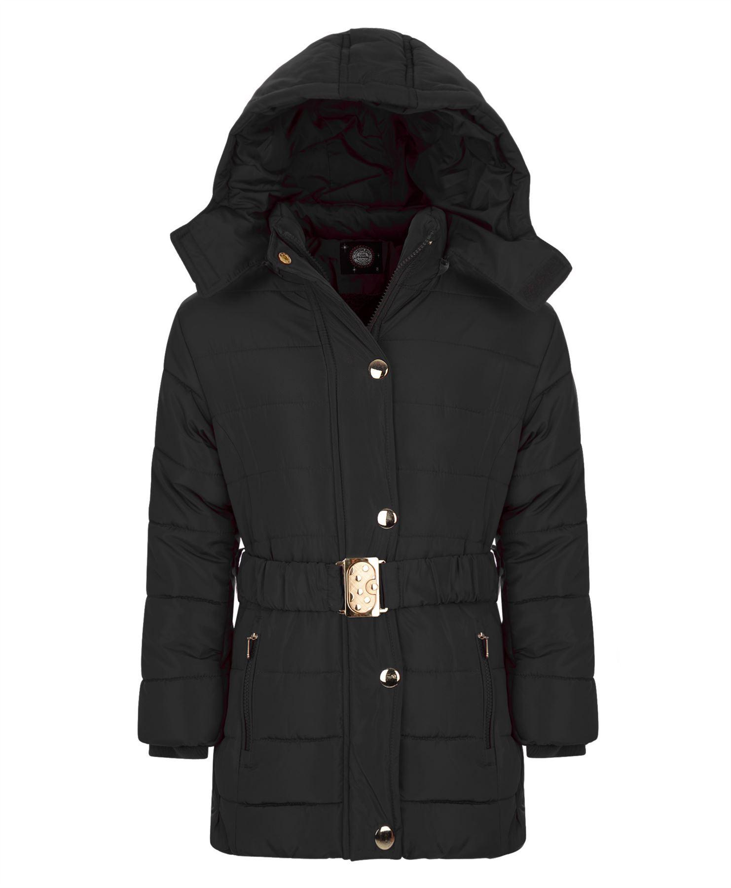 Girls Long Belted Winter Quilted Jacket Kids Detach Hood Padded ... : kids quilted jacket - Adamdwight.com