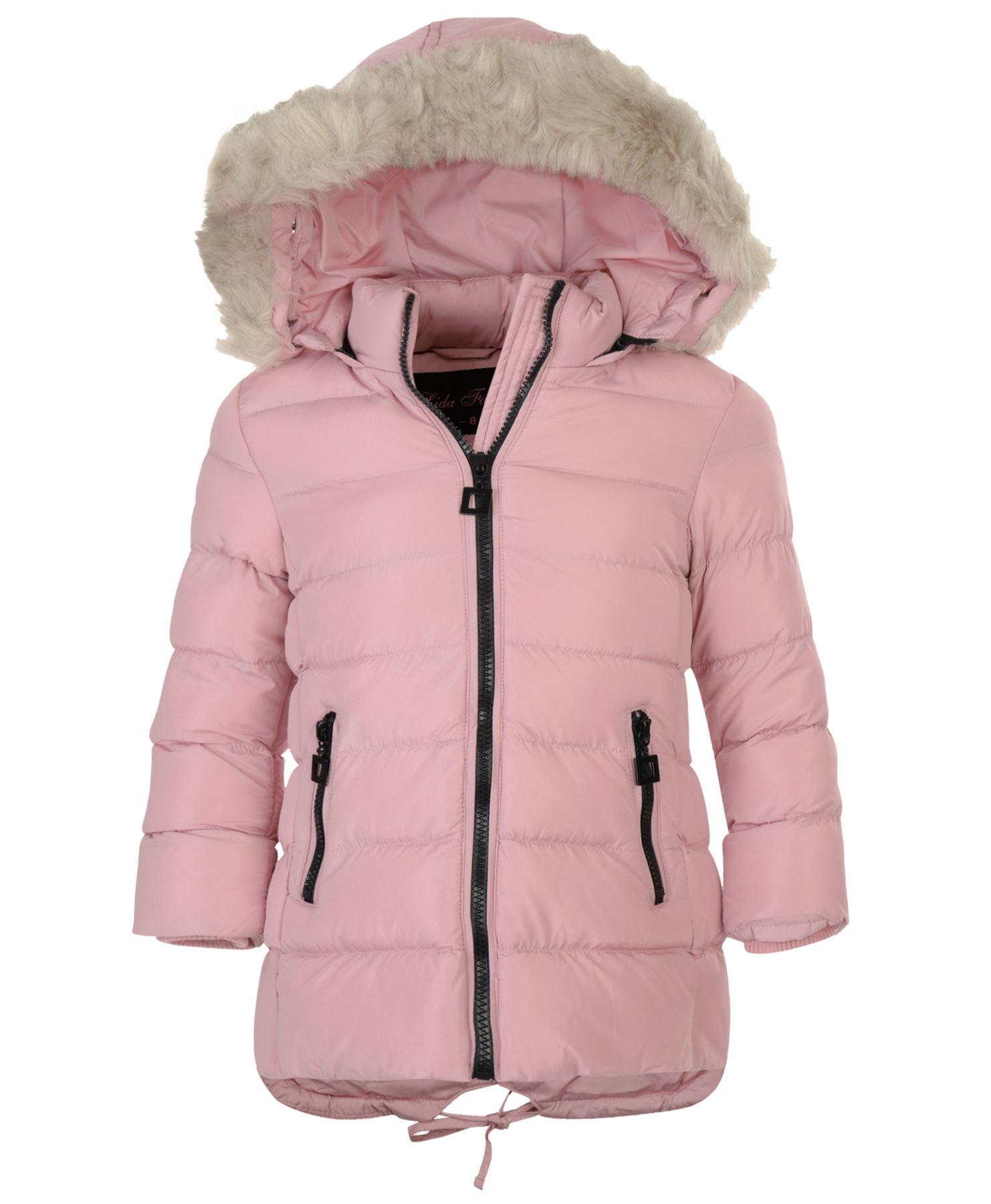 71218974a530 Girls Long Down Quilted Winter Parka Jacket Kids Detach Hood Zip ...