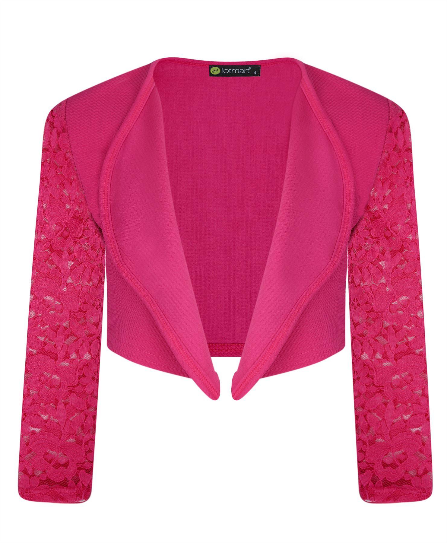 Girls Open Front Bolero Shrug Kids Long Lace Sleeve Cardigan Jacket ...