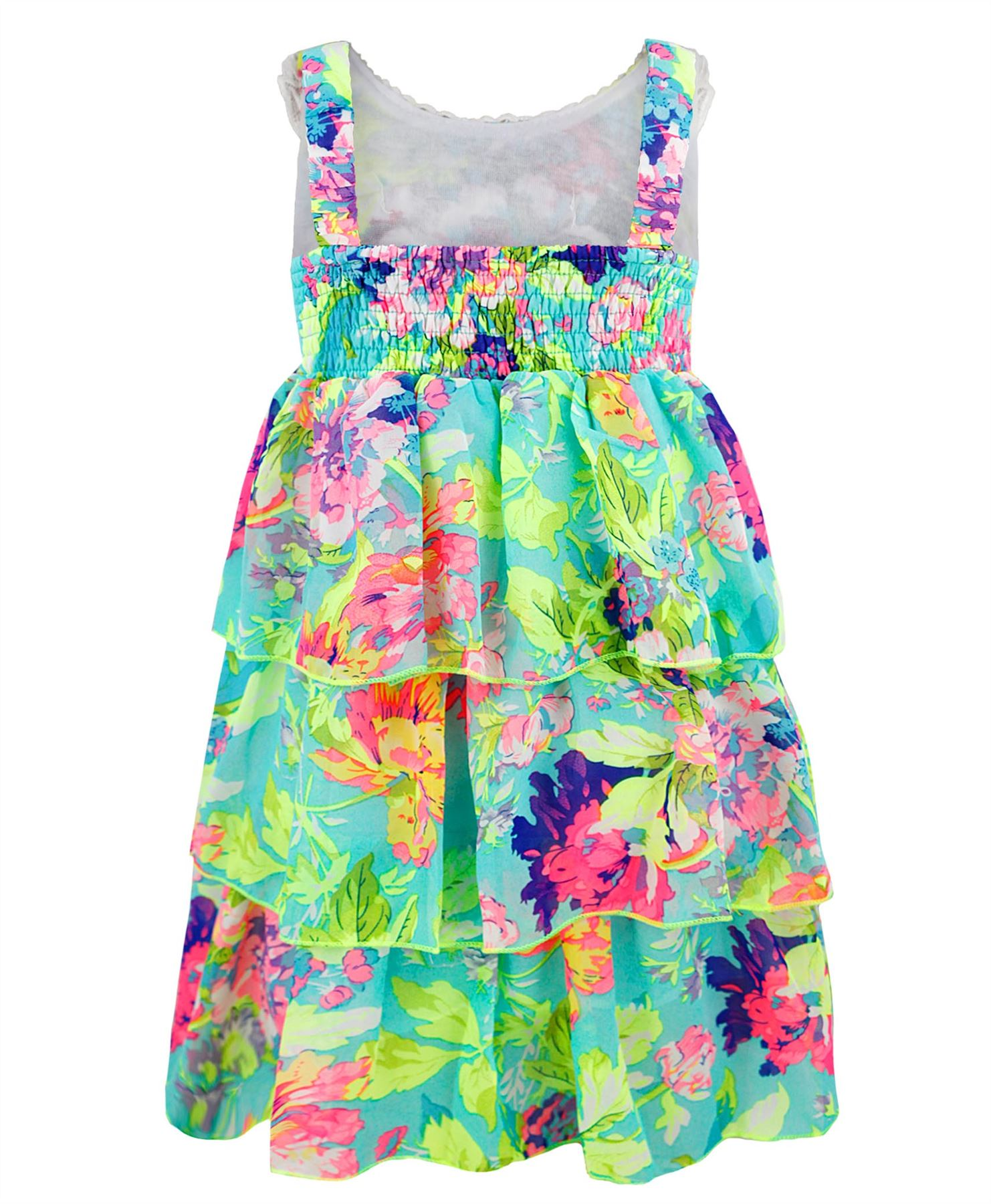 GIRLS-FLOWER-PRINT-3-LAYER-DRESS-KIDS-LACE-DIAMANTE-NECKLINE-PARTY-TOP-1-14-YEAR
