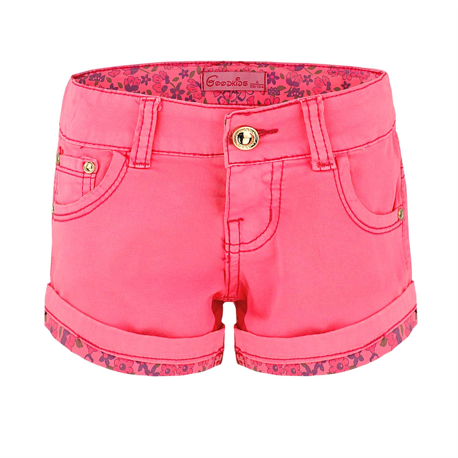 GIRLS-COLOUR-DENIM-SHORTS-FLORAL-HEM-KIDS-COTTON-FASHION-HOTPANTS-SIZE-3-14Y
