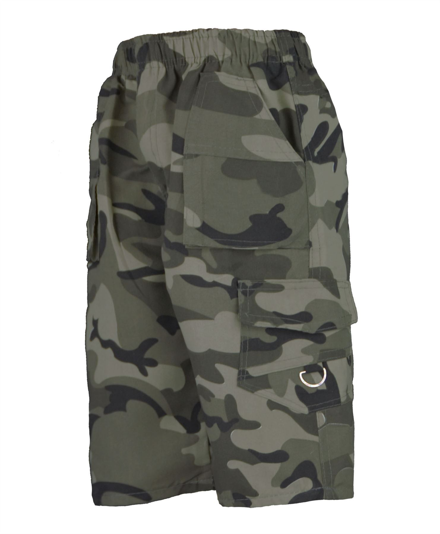 KIDS-PLAIN-amp-CAMOUFLAGE-MULTIPOCKET-SHORTS-BOYS-ARMY-PRINT-CARGO-COMBAT-3-14-Y