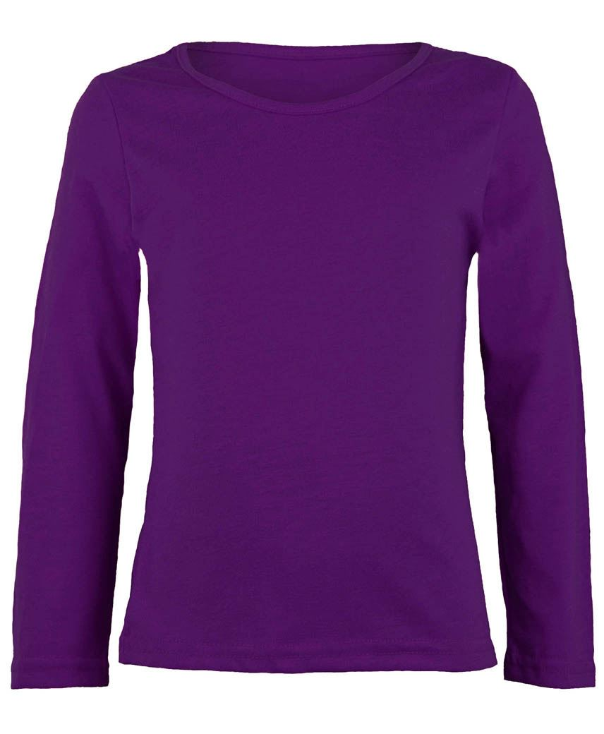 KIDS LONG SLEEVE PLAIN BASIC TOP GIRLS BOYS T-SHIRT TOPS ...