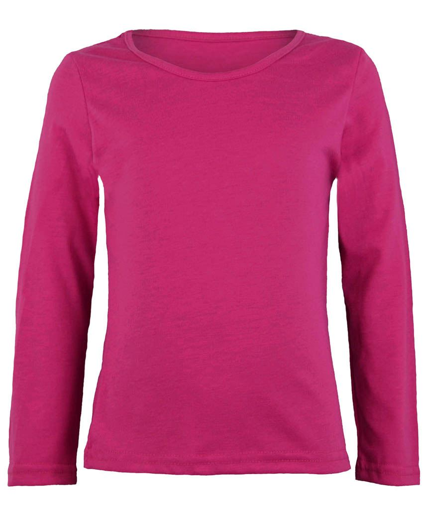 Kids Long Sleeve Plain Basic Top Girls Boys T-shirt Tops Crew ...
