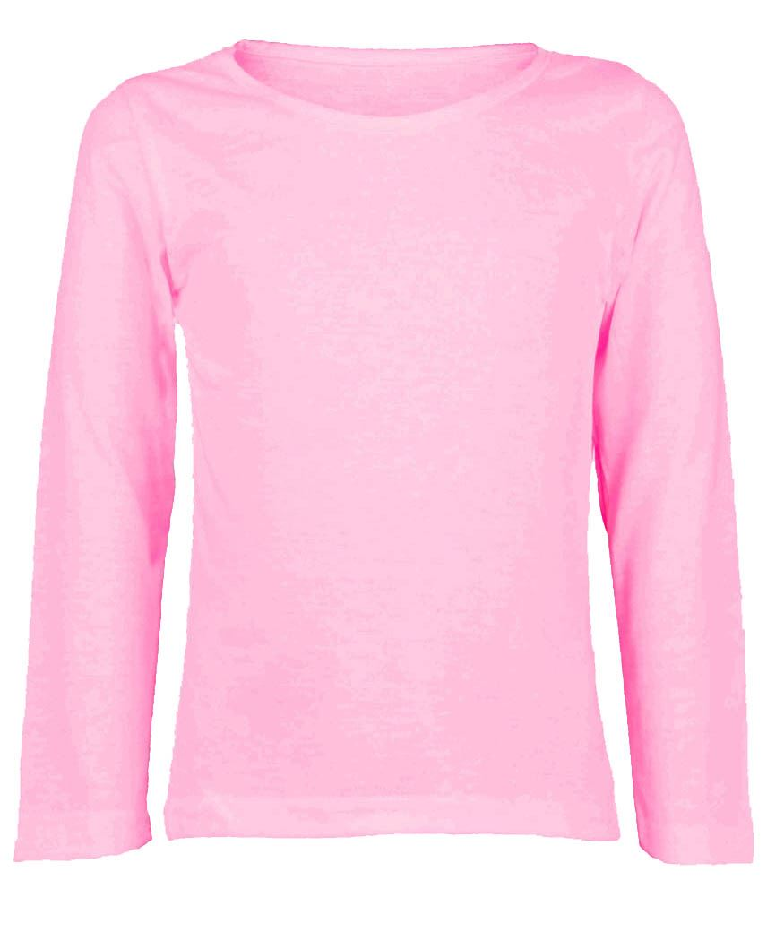 KIDS PLAIN LONG SLEEVE BASIC GIRLS BOYS T-SHIRT TOPS CREW UNIFORM ...