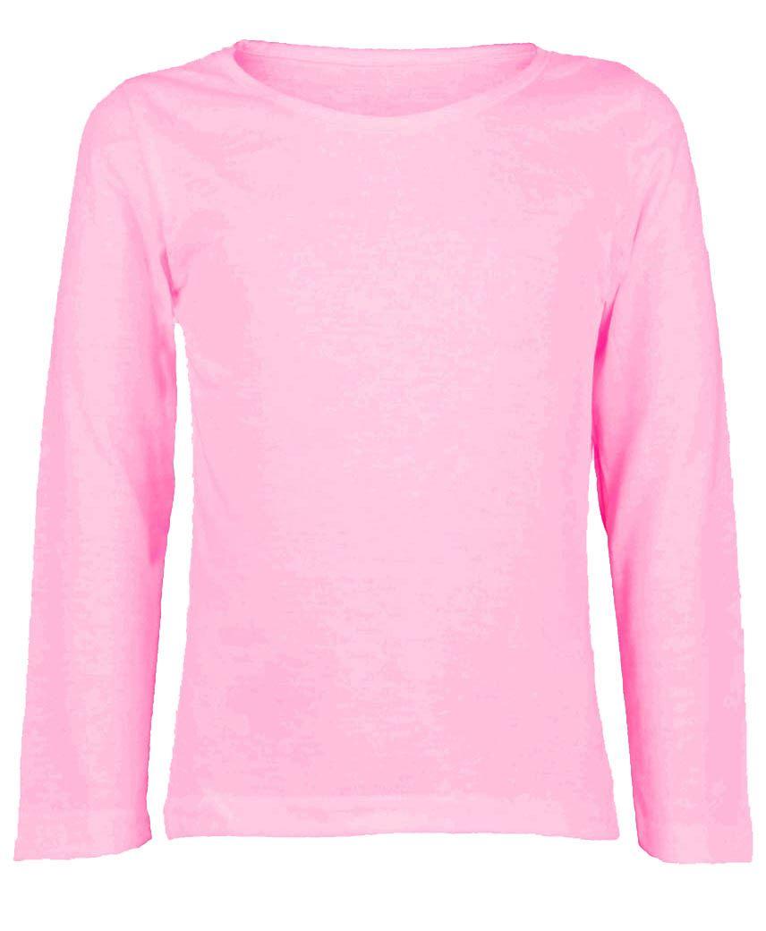 Kids Plain Long Sleeve Basic Girls Boys T Shirt Tops Crew