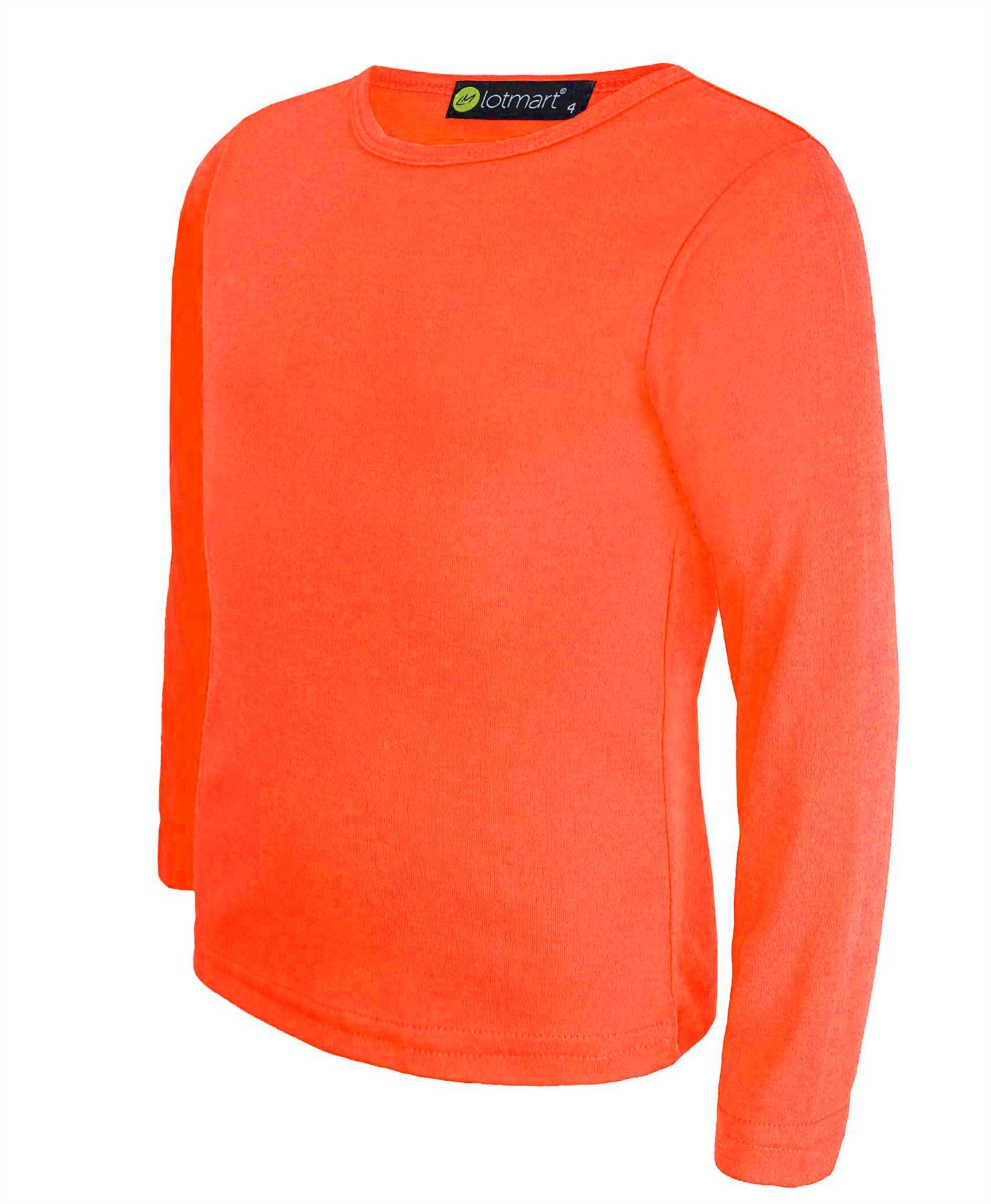 Kids basic top plain long sleeve boys girls t shirt tops for Plain yellow long sleeve t shirt