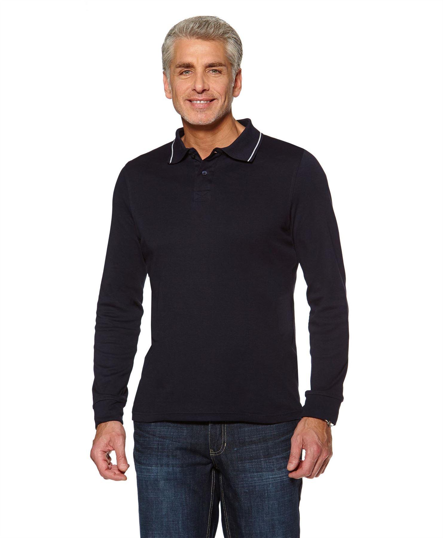 Polo longues homme coton uni T-shirt haut manches longues Polo jersey extensible Tops Taille S-3XL 33c219