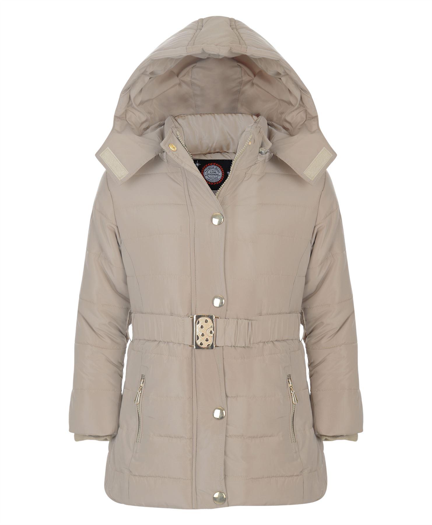 Girls Long Belted Quilted Winter Jacket Kids Detach Hood ...