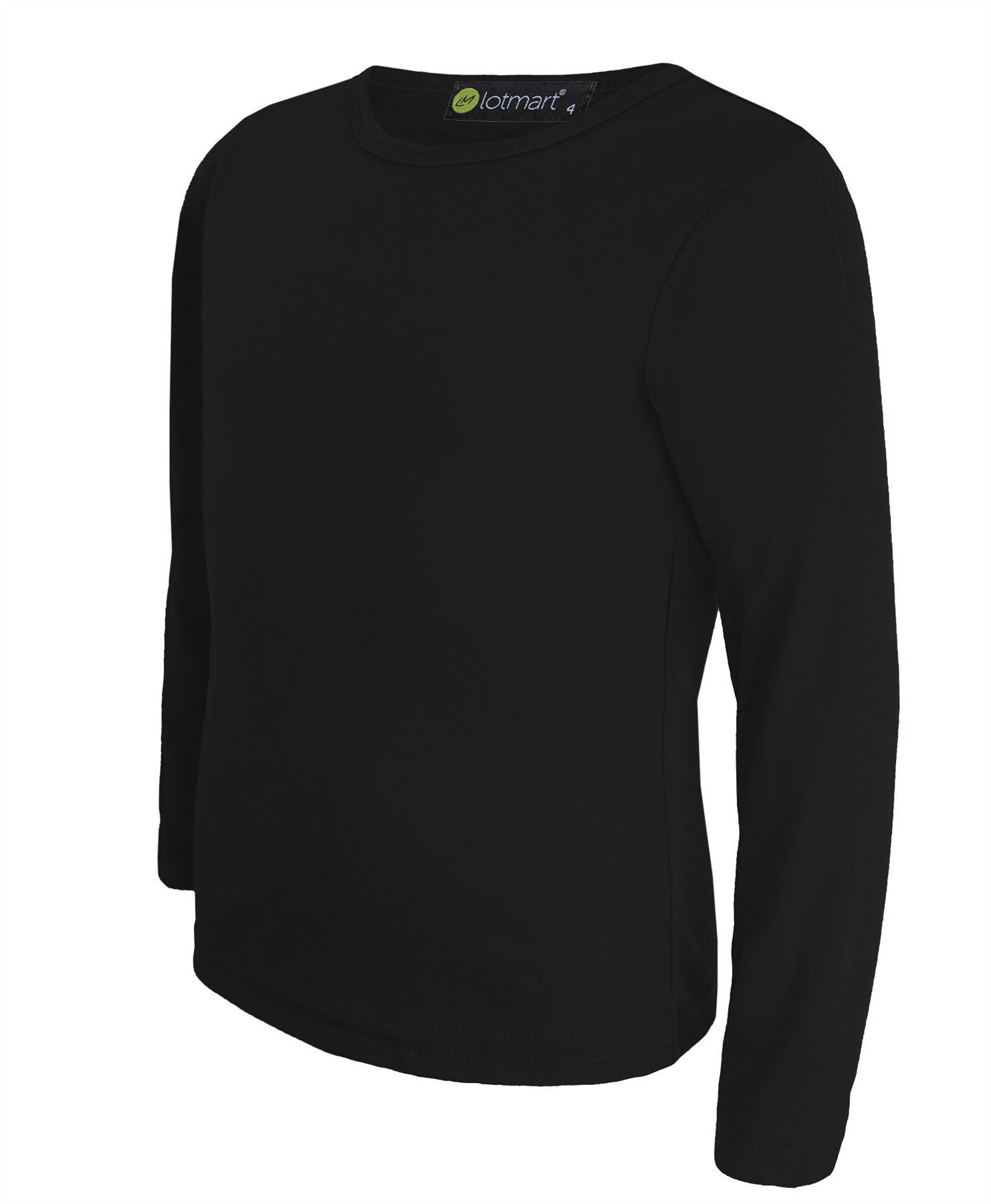 Kids Basic Top Plain Long Sleeve Boys Girls T Shirt Tops