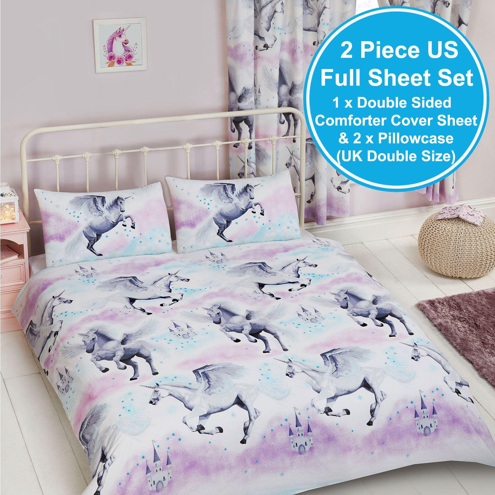 Stardust Unicorn Purple Teal Bedding Duvet Sets Junior