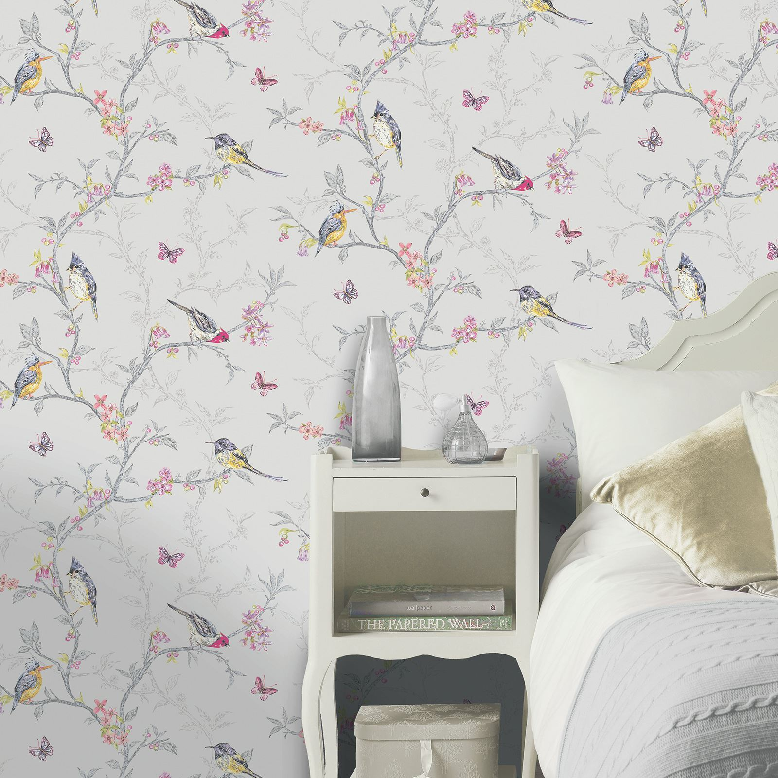 BEAUTIFUL ROOM DECOR HOLDEN PHOEBE BIRDS WALLPAPER CREAM