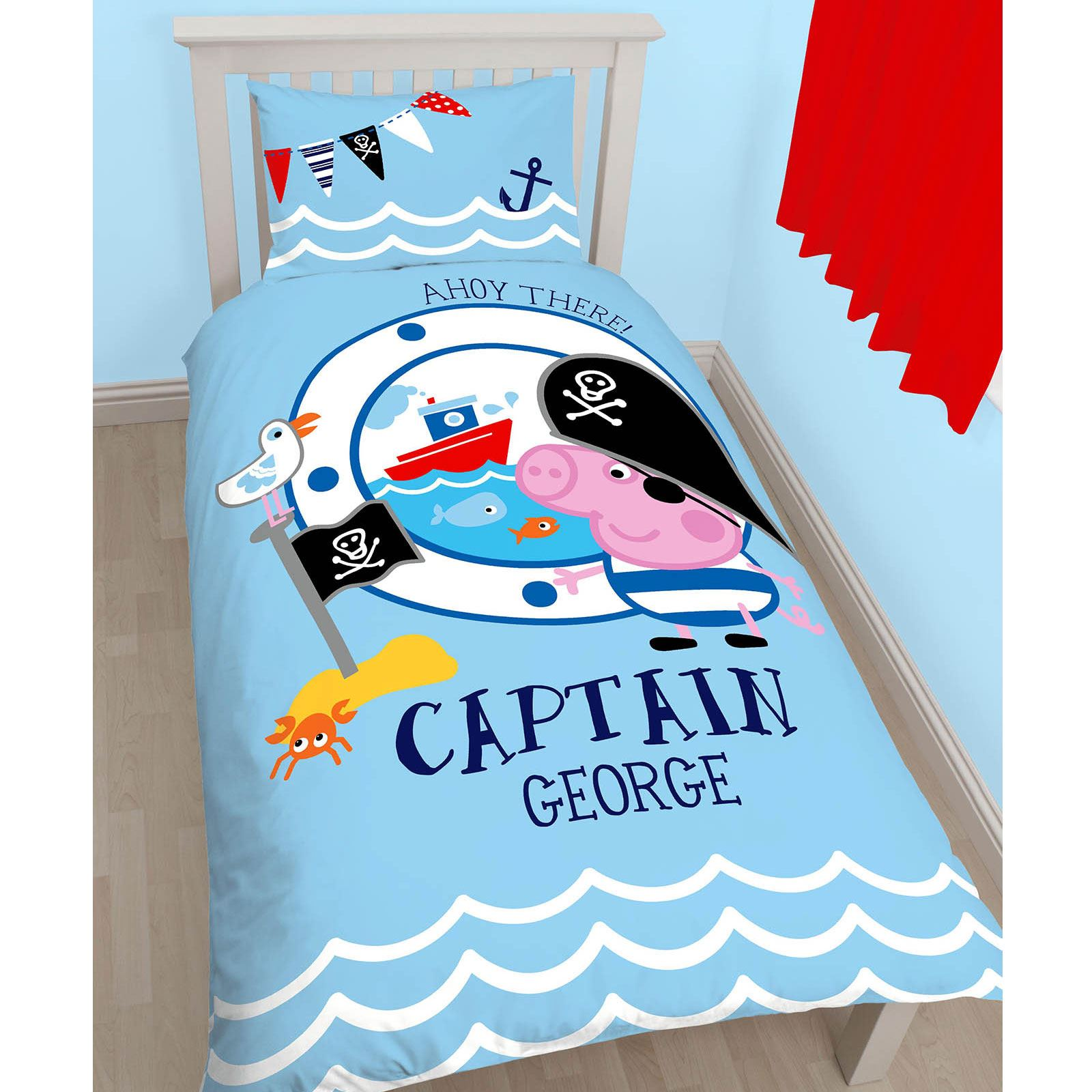PEPPA PIG GEORGE PIRATE SINGLE PANEL DUVET COVER SET + FREE SMALL
