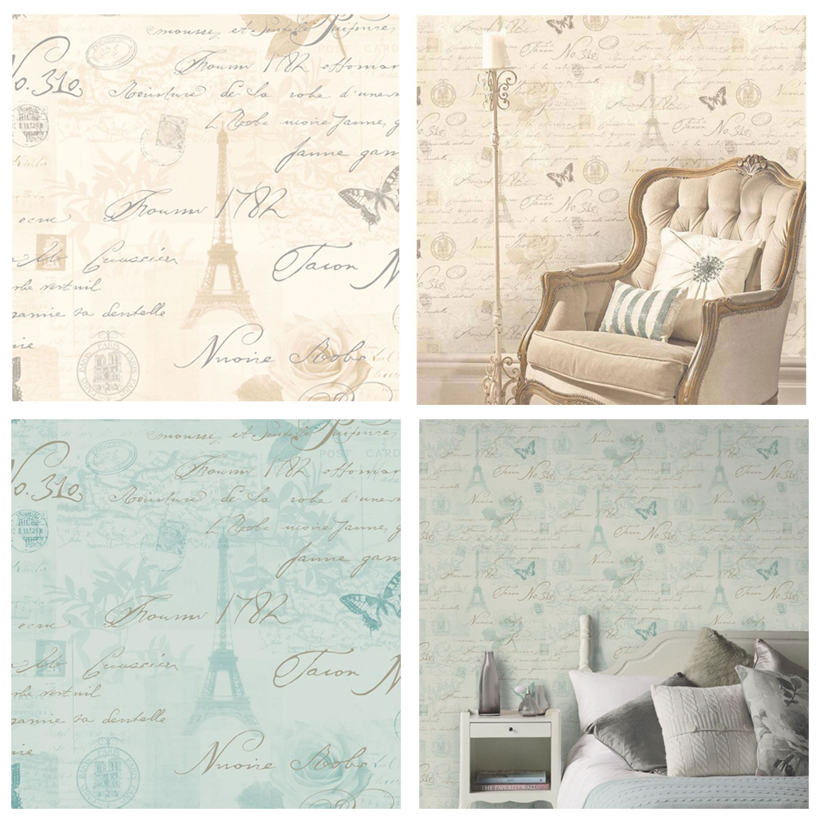 Holden calligraphy paris postcard wallpaper duck egg