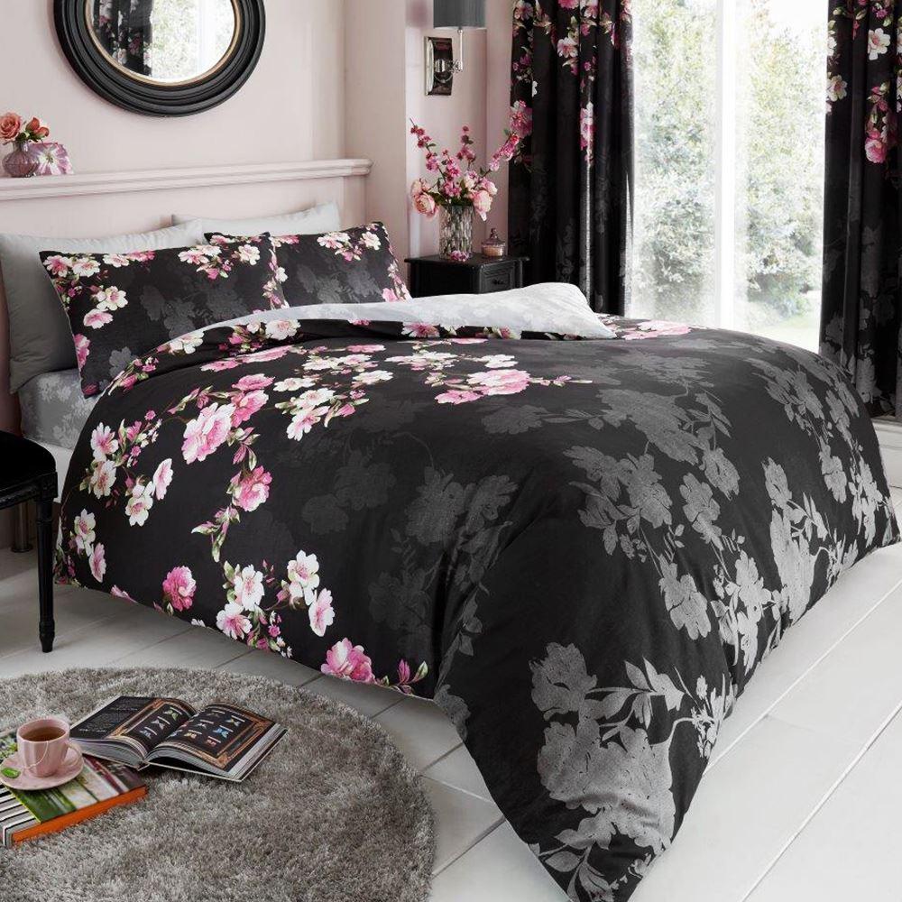 Roseanne Floral Set Housse De Couette Double Noir Roses Fleurs 2