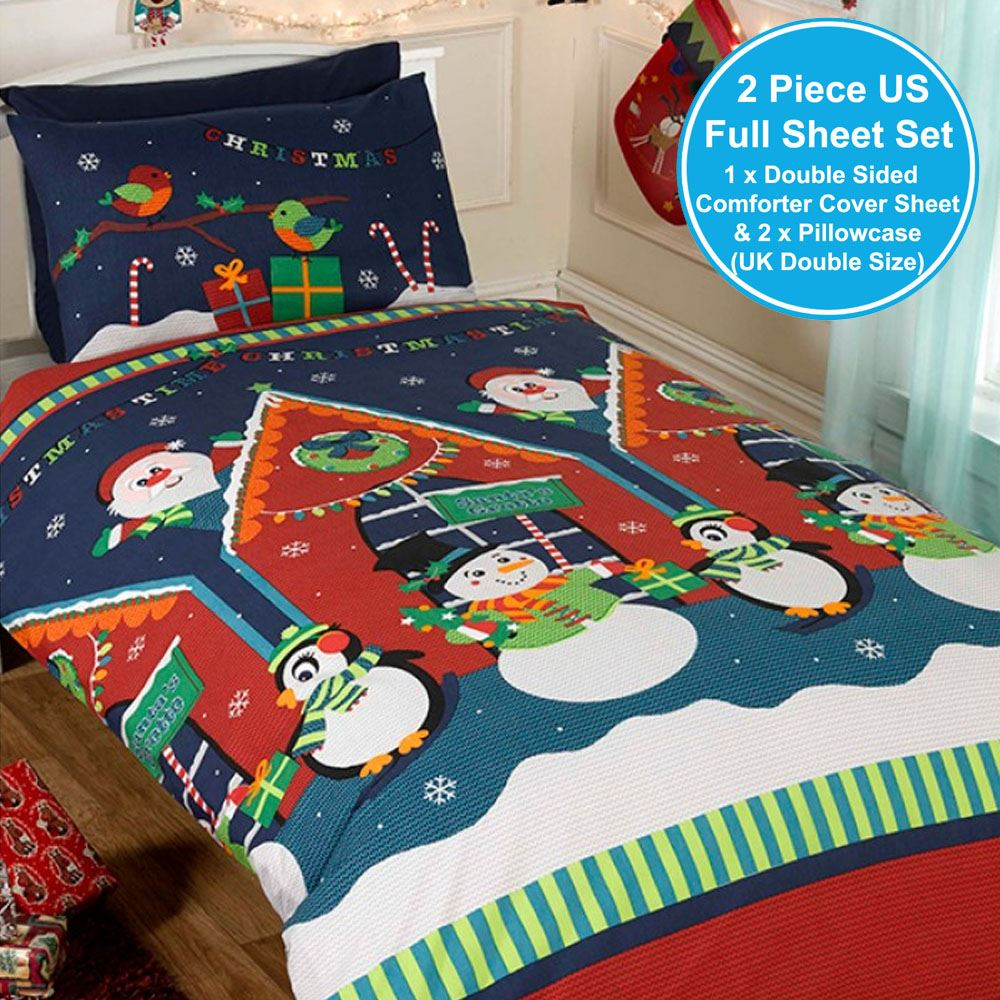 Details About Santas Grotto Double Duvet Cover Father Christmas Xmas Bedding Set