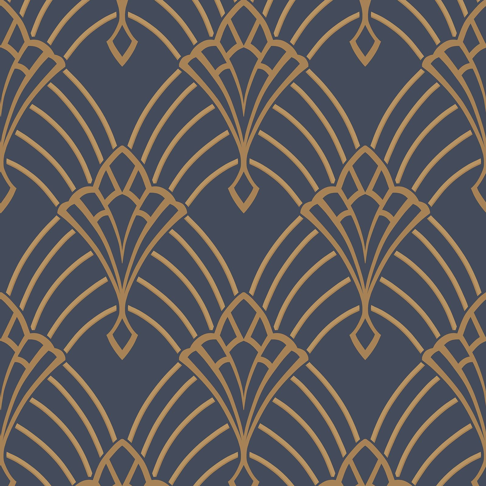 Astoria art deco wallpaper dark blue gold rasch 305340 for Art deco patterns