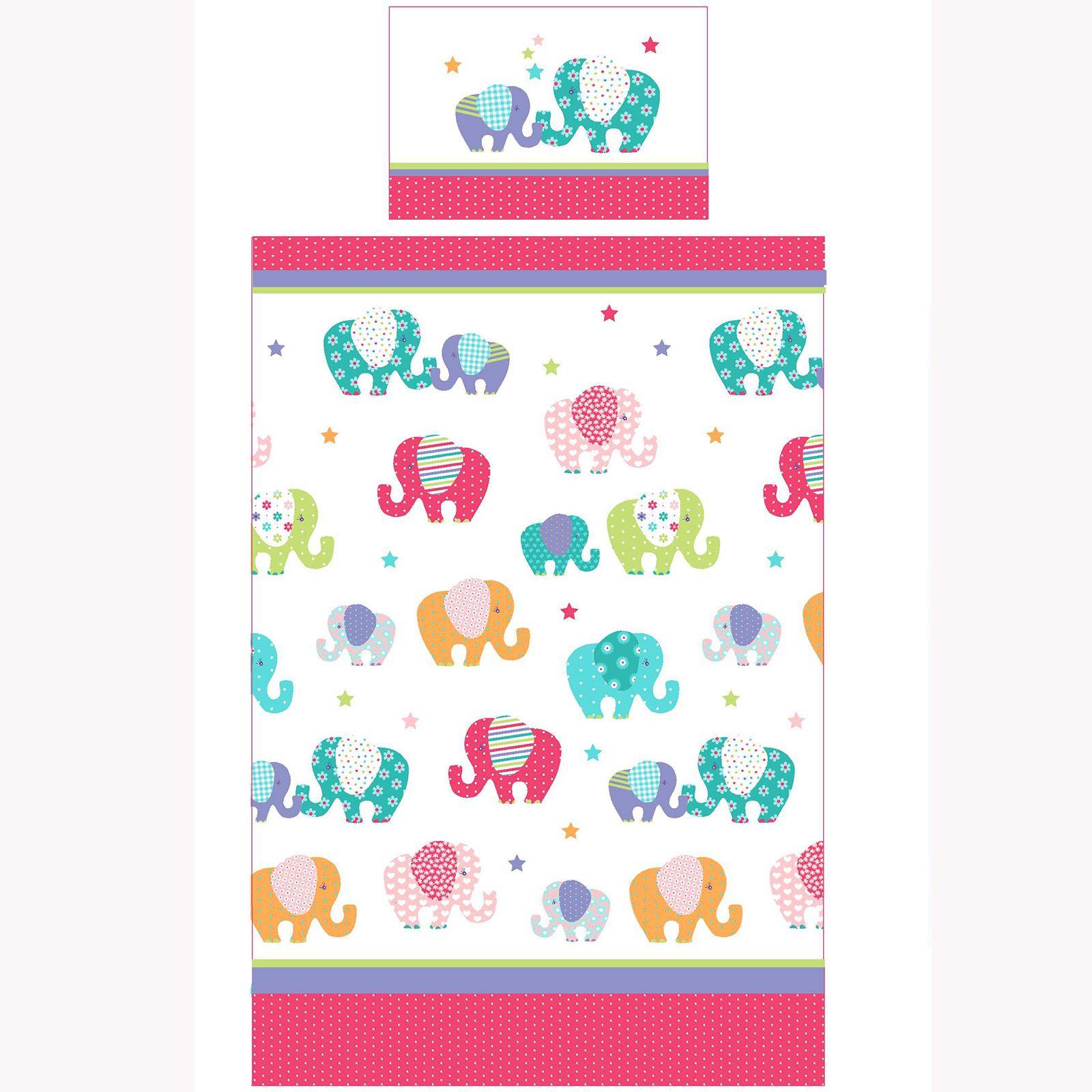 Patchwork elefante set copripiumino singolo biancheria da letto bambini colorato ebay - Biancheria da letto bambini ...