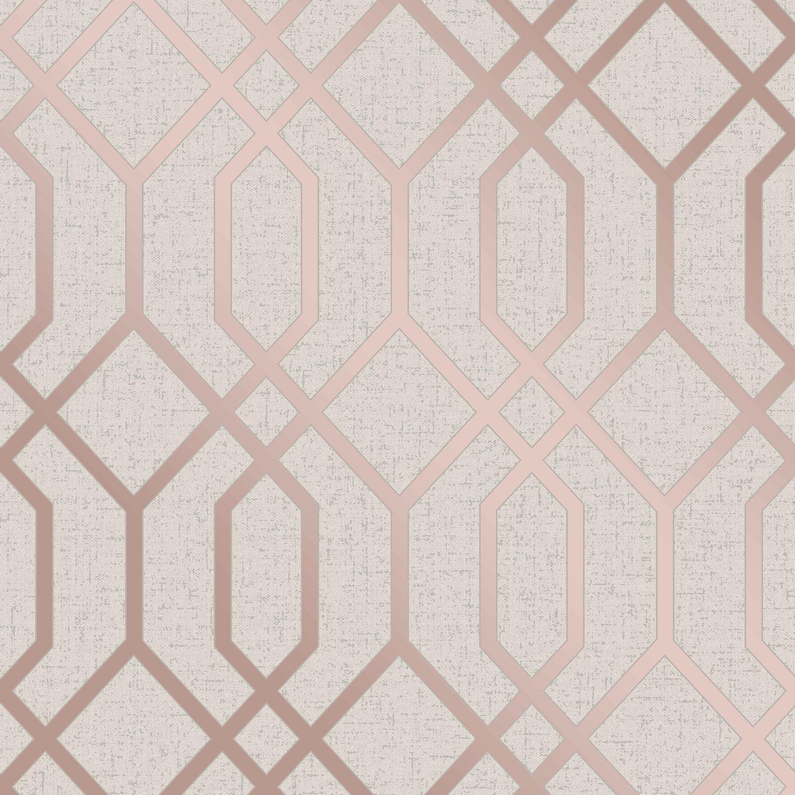 Apex Geo Wallpaper Rose Gold: ROSE GOLD / PINK GREY BEIGE WALLPAPER STRIPE GEOMETRIC DAMASK MARBLE METALLIC