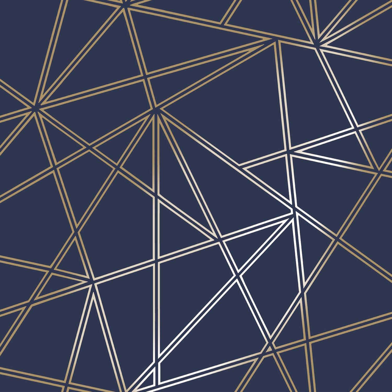 PALADIUM Geometrica Carta Da Parati Blu Navy/Oro-Holden