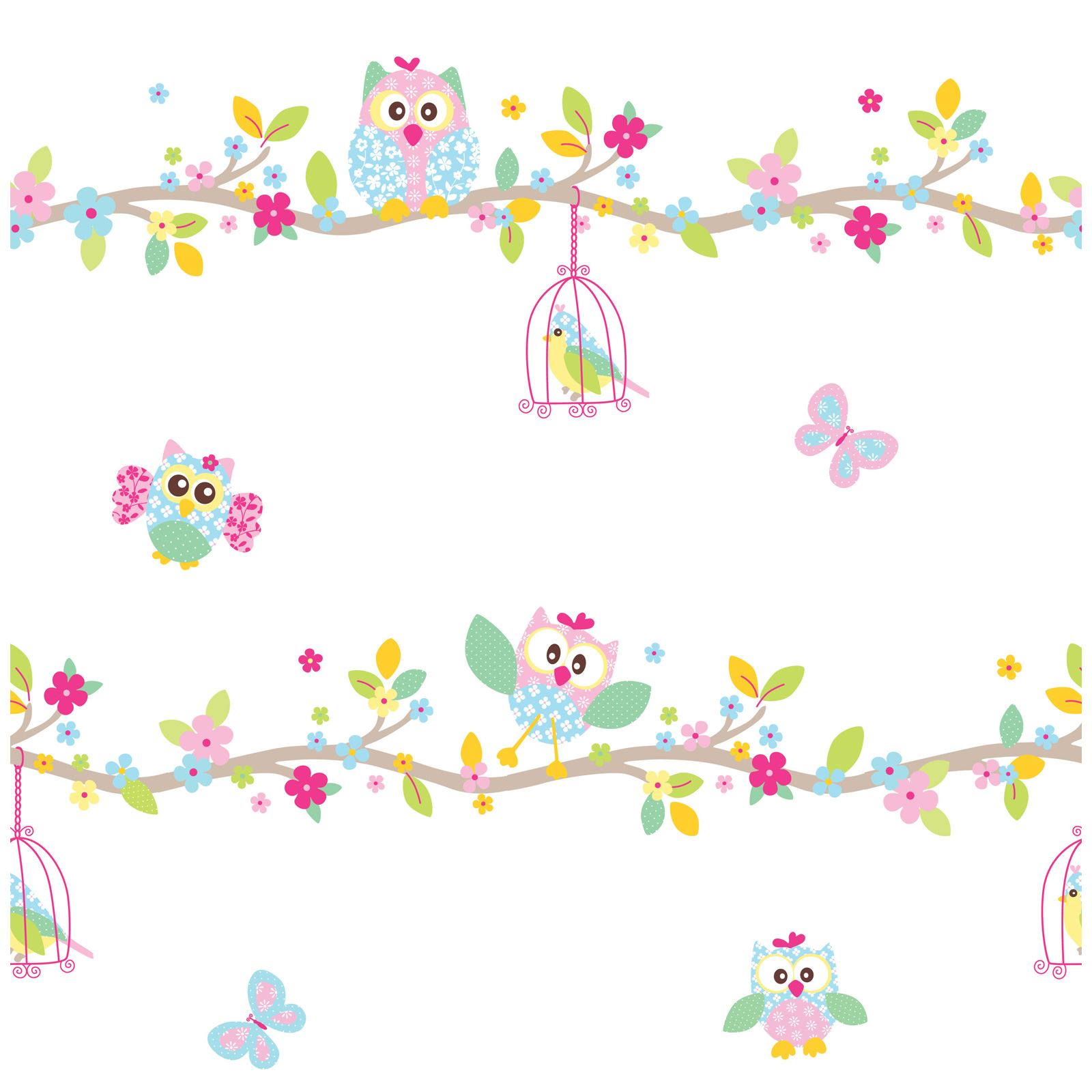 PATCHWORK OWL WALLPAPER AND BORDER WHITE PINK PASTEL. PATCHWORK OWL WALLPAPER AND BORDER   WHITE PINK PASTEL BEDROOM