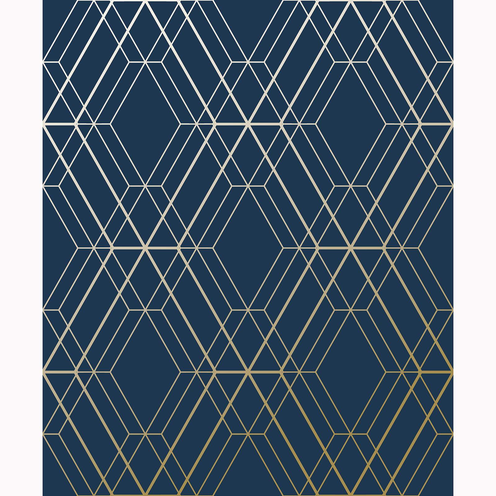 Metro Diamond Geometric Wallpaper Navy Blue Gold