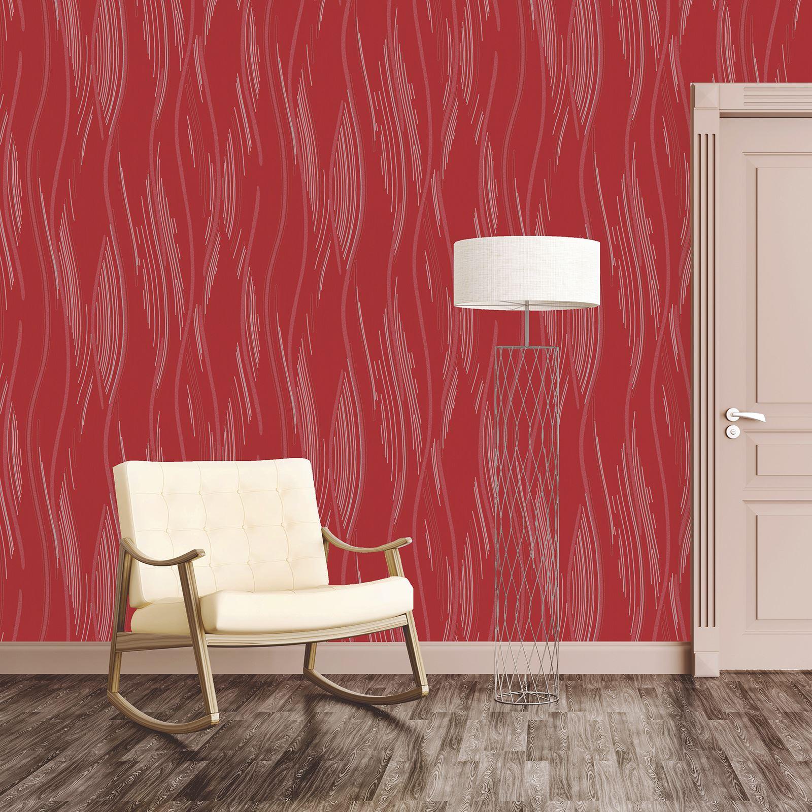 Glitter Wallpaper Shimmer Textured Modern Lines Stripes Red Grey