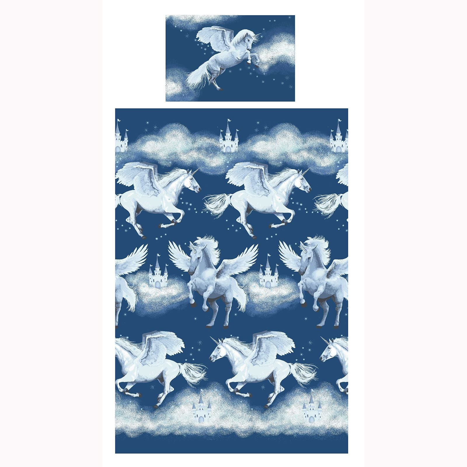 Stardust-Unicornio-Azul-Rosa-Cortinas-amp-Juego-Funda-Edredon-Menor-Simple-Doble miniatura 8