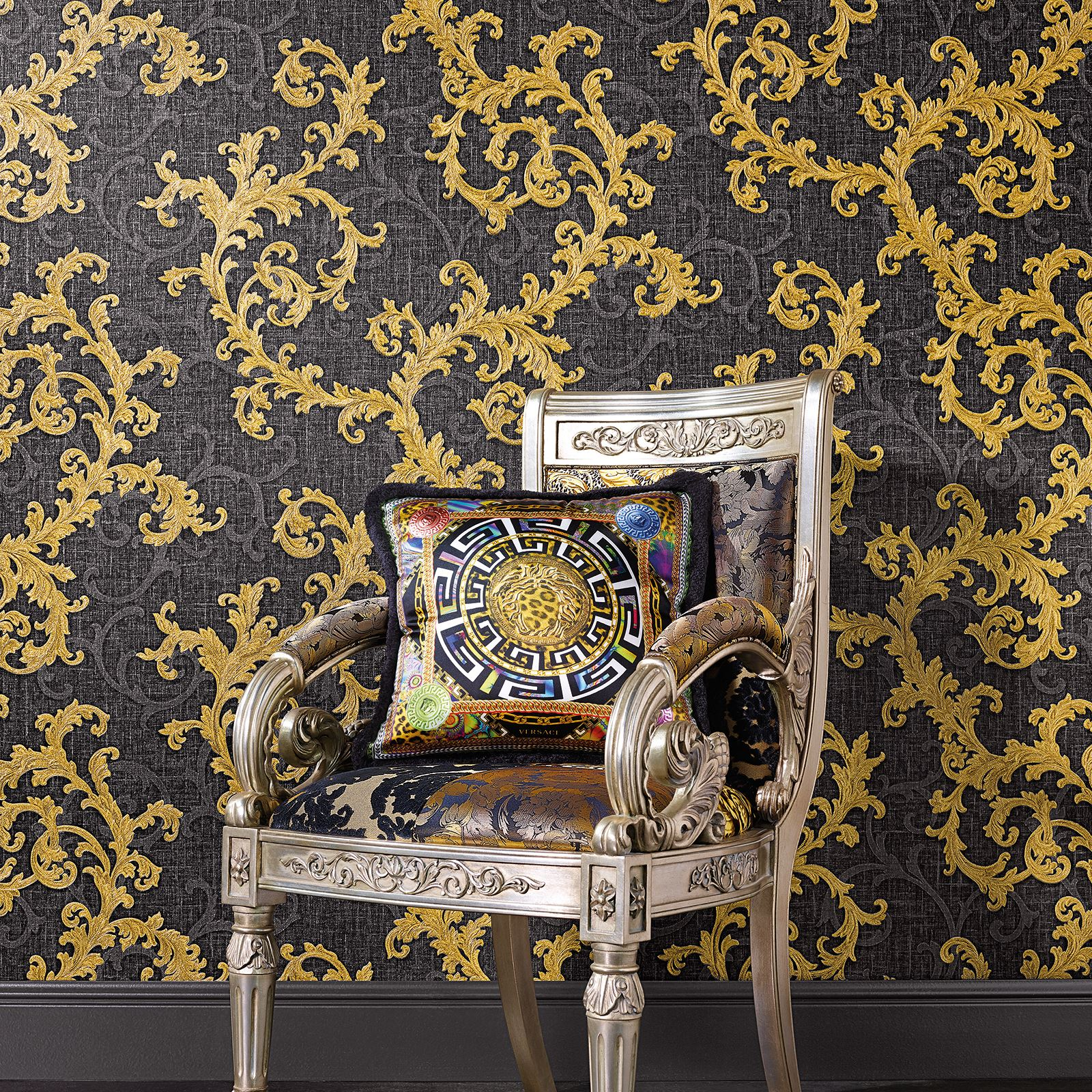 Versace Baroque Floral Trail Luxury Wallpaper Black And