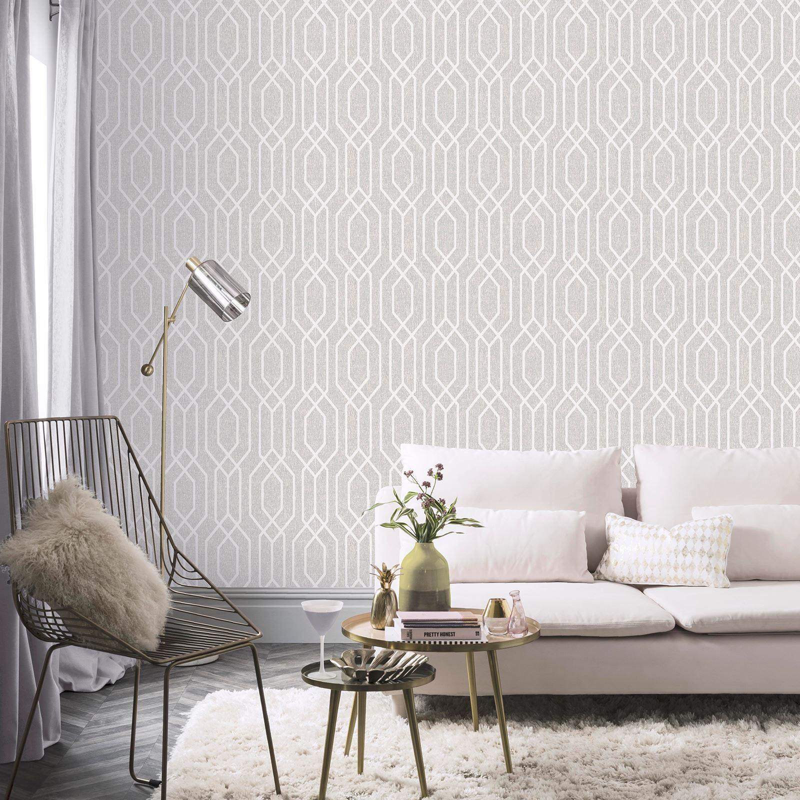 Arthouse New York Geometric Trellis Wallpaper Teal Grey