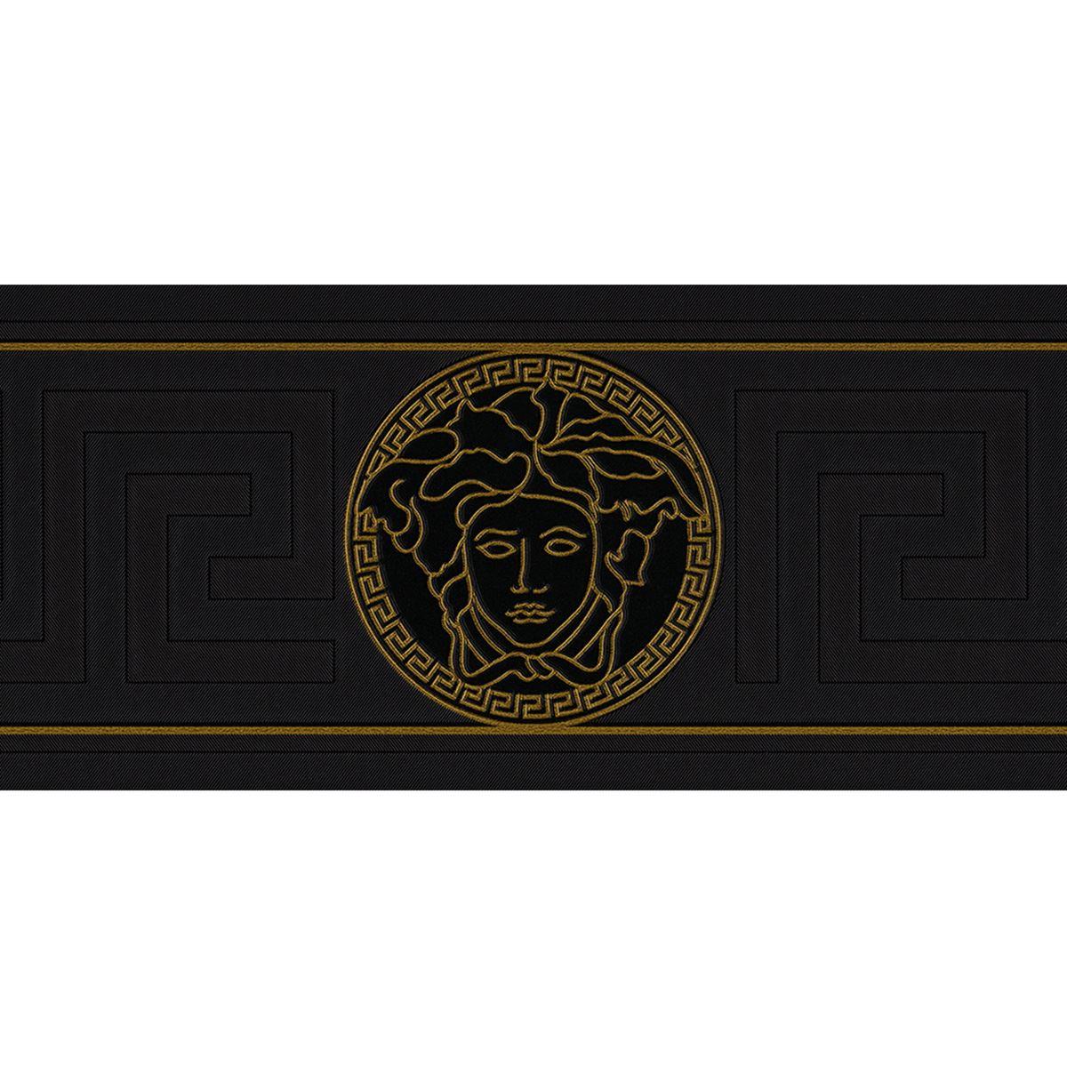 Versace Greek Key Wallpaper Border Medusa Head Designer Black 935224 Ebay