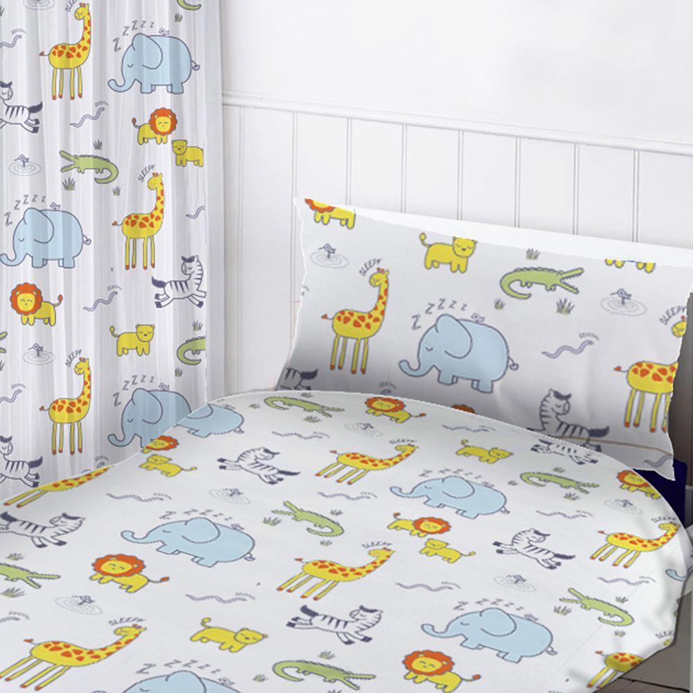 Safari Tiere Schlafzimmer Kinder Vorhänge 137cm 72 Bettbezug
