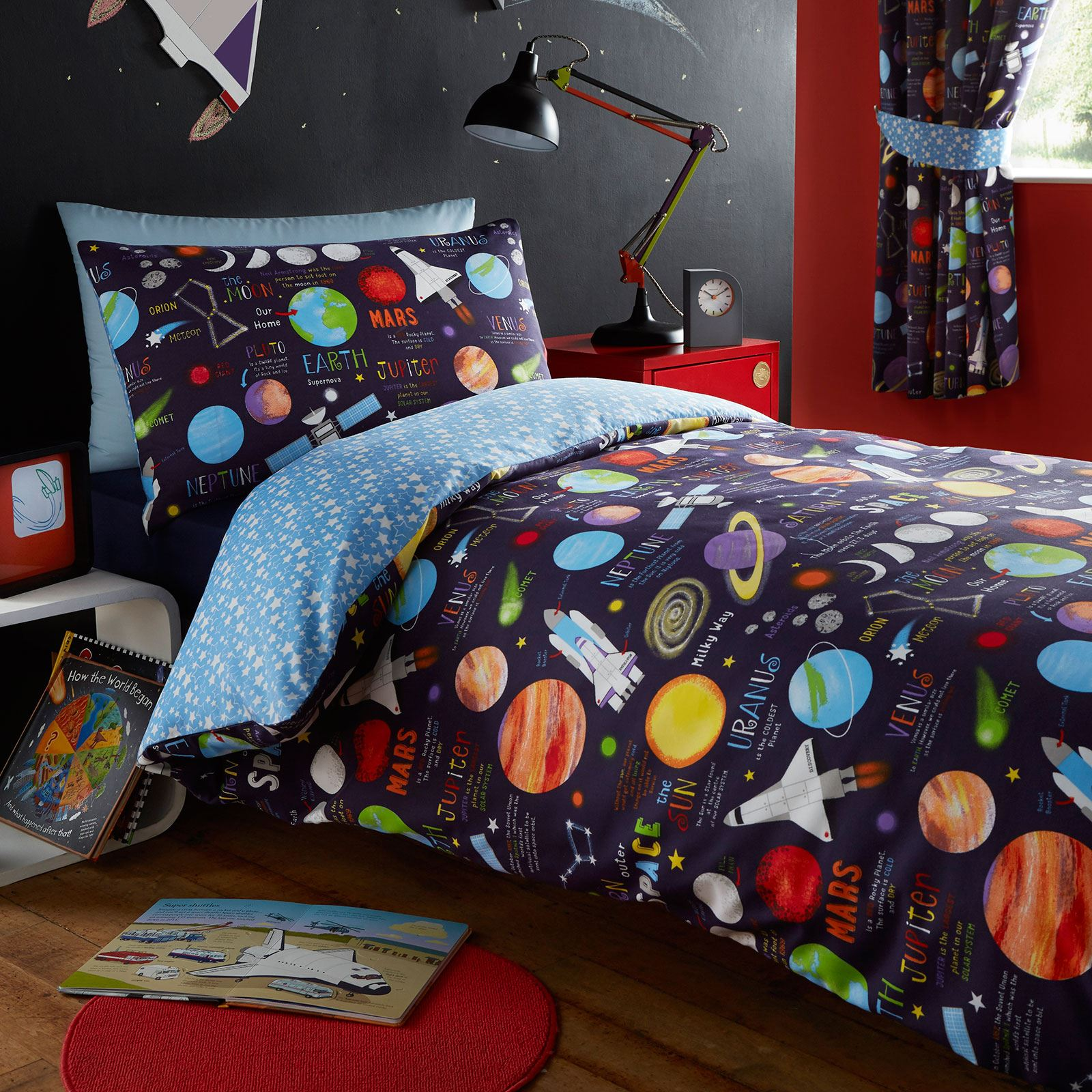 Well known PLANETS SPACE ROCKETS SINGLE DUVET COVER SET - BLUE - KIDS BEDROOM  FE89