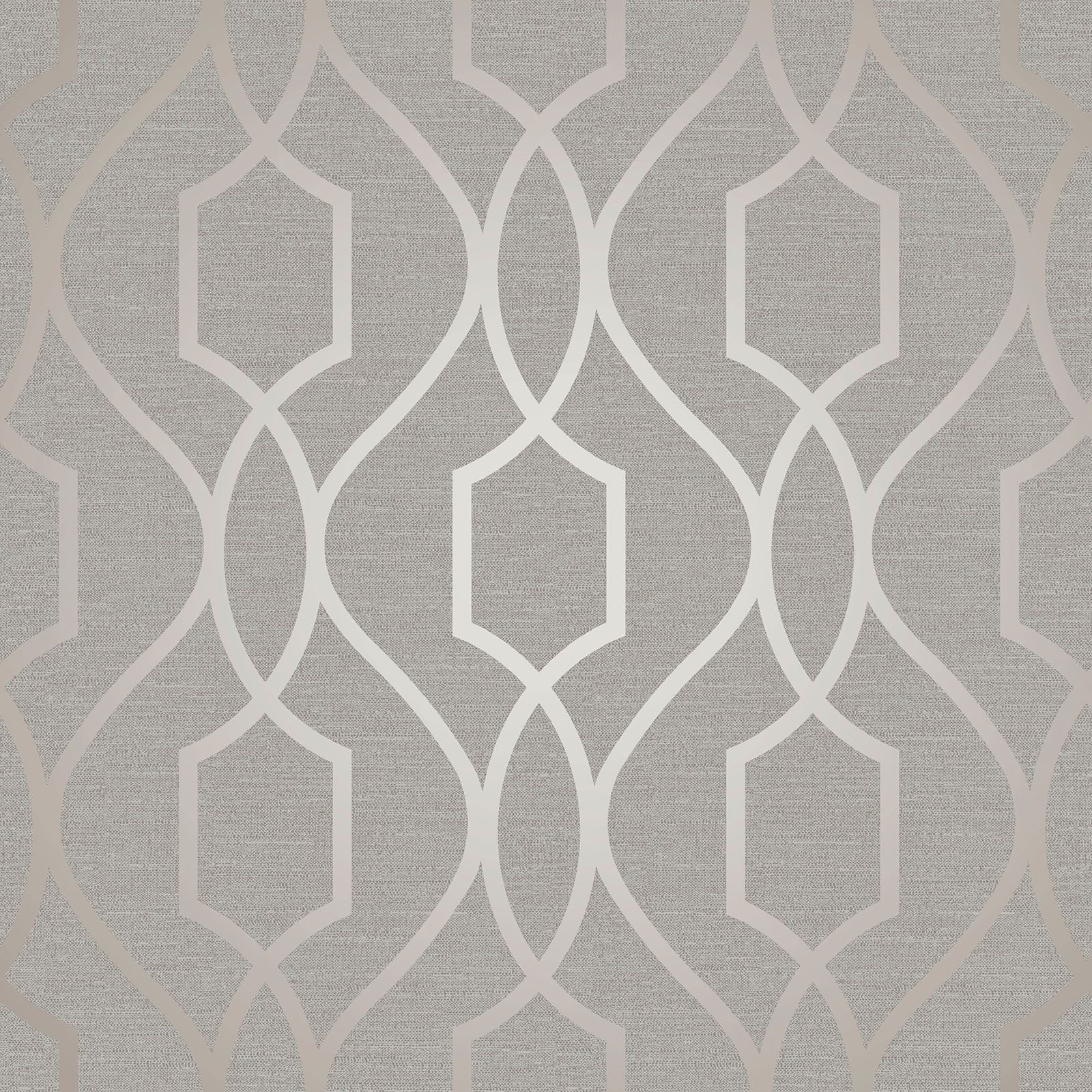 Fine Decor Apex Geometric Trellis Wallpaper Stone Grey