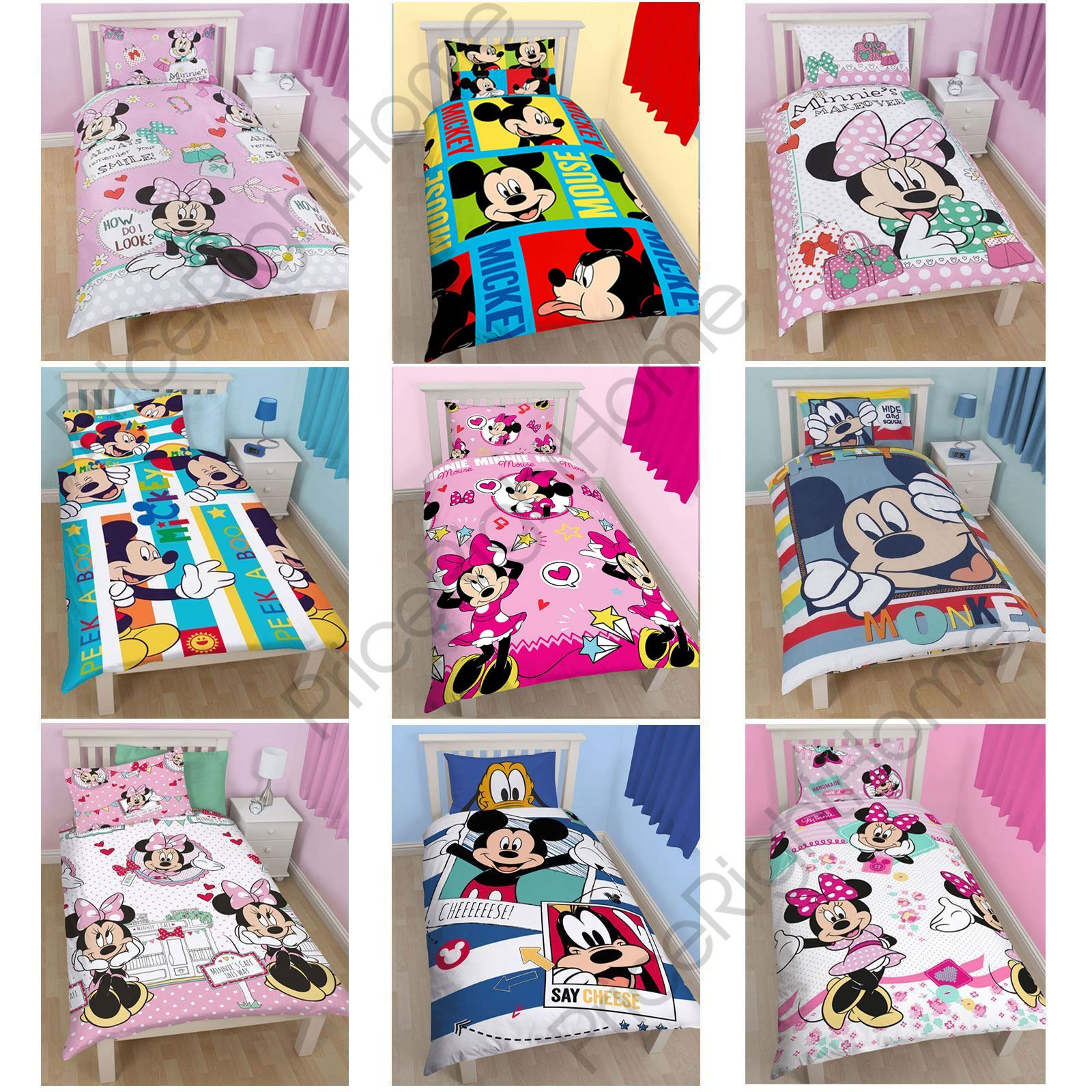 DISNEY MICKEY OR MINNIE MOUSE SINGLE JUNIOR DUVET COVER SETS KIDS - Disney bedroom furniture uk