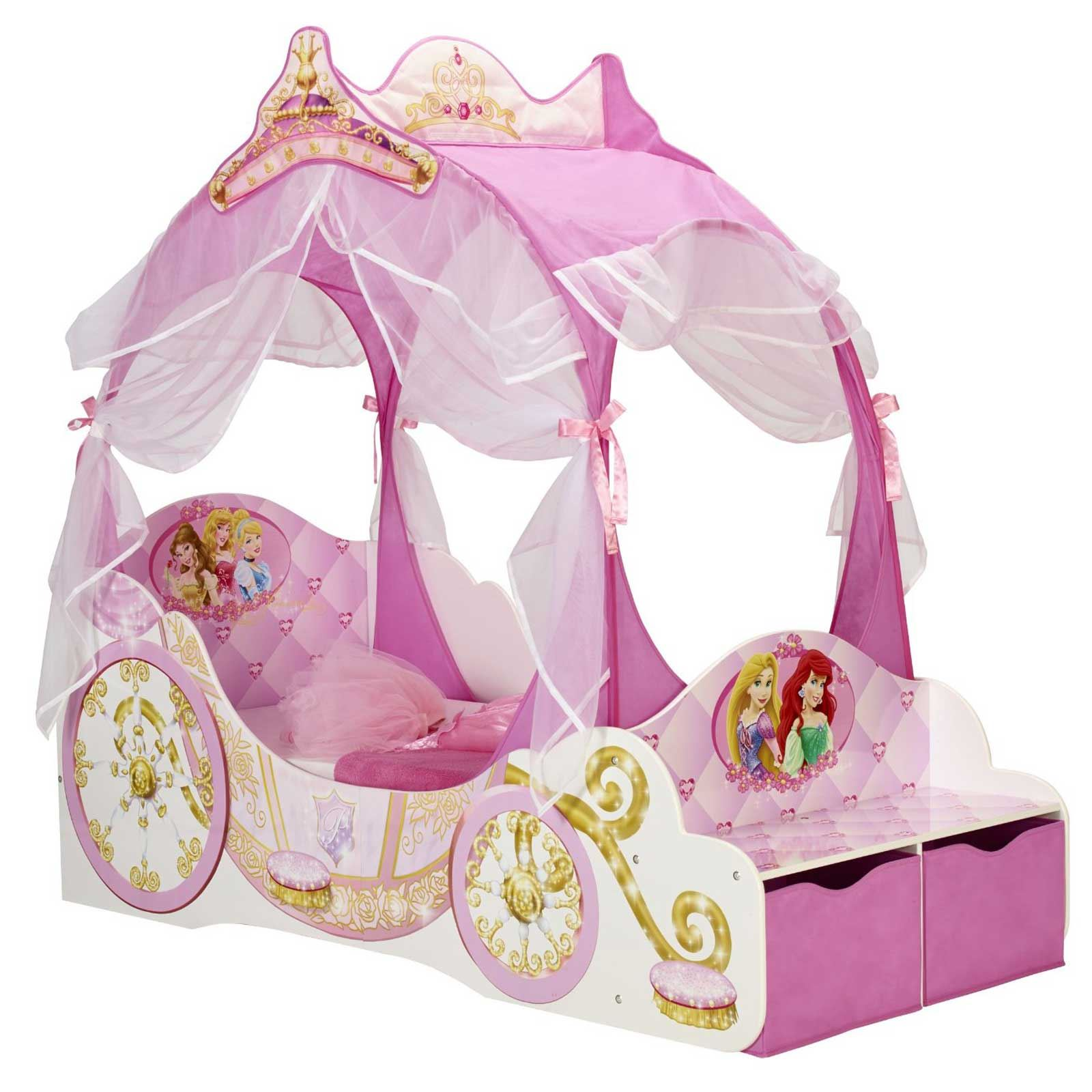 DISNEY PRINCESS CARRIAGE TODDLER BED WITH STORAGE GIRLS MATTRESS OPTIONS