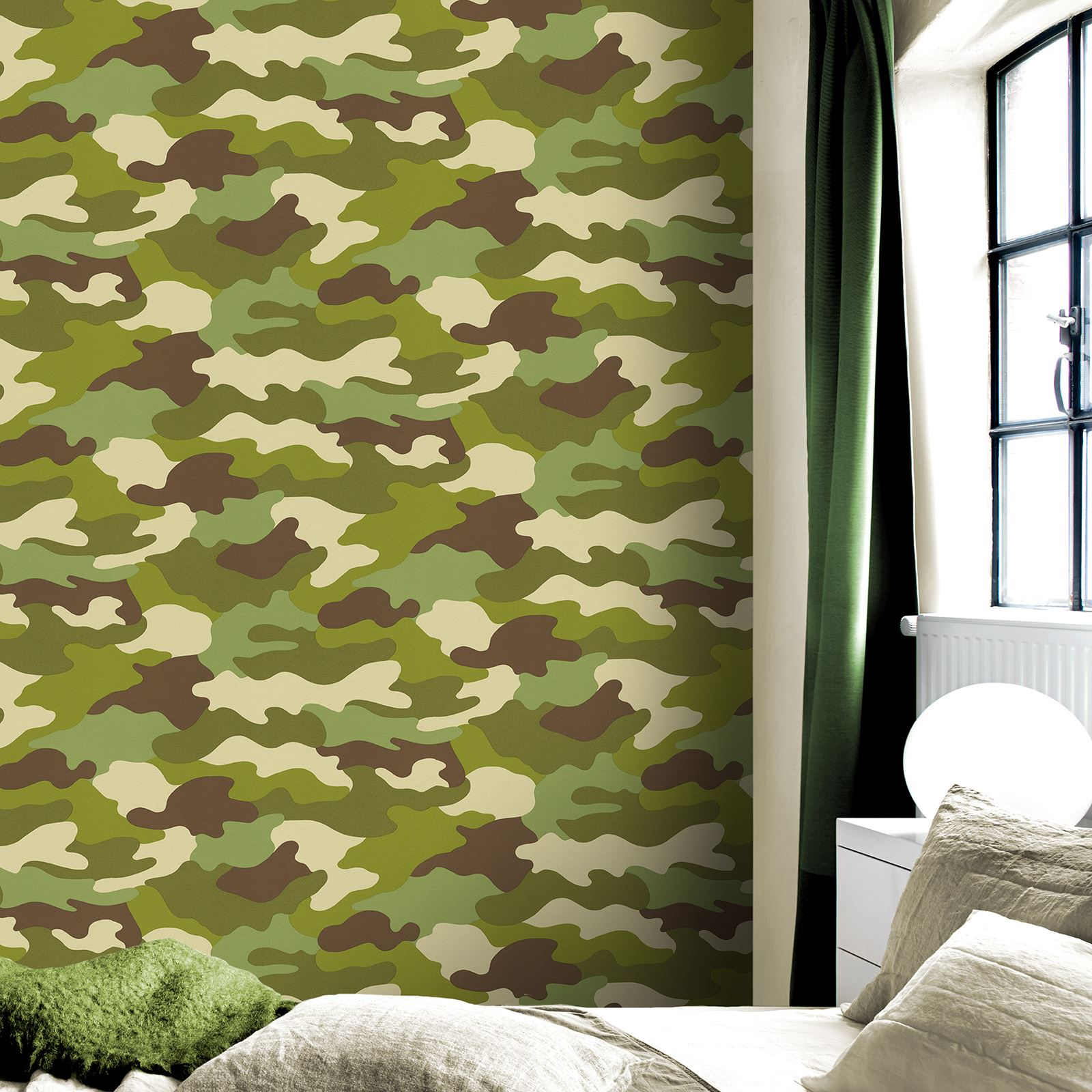 BLACK ARMY SOLDIER BEDROOM CAMOUFLAGE WALLPAPER 10M KHAKI GREEN GREY