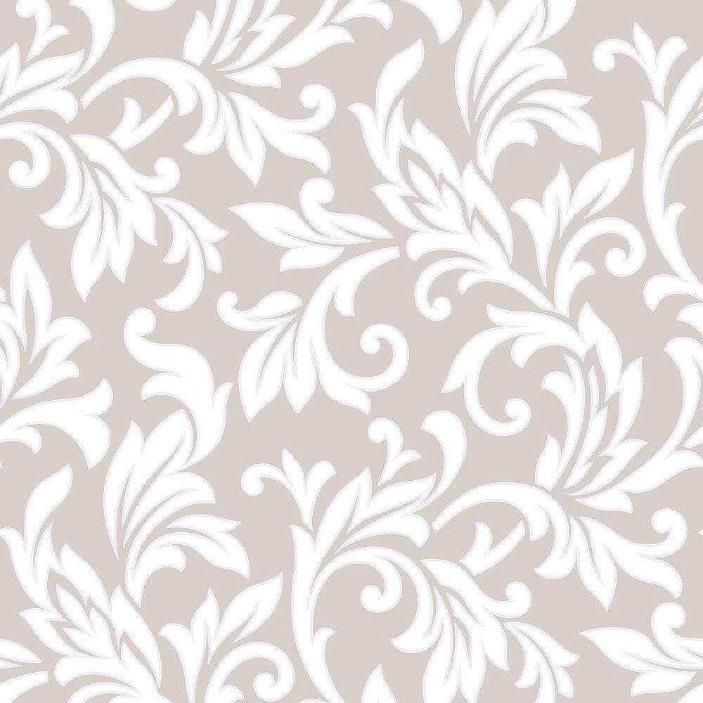 Floral Damask Wallpaper Textured Rasch 309843 Taupe Silver