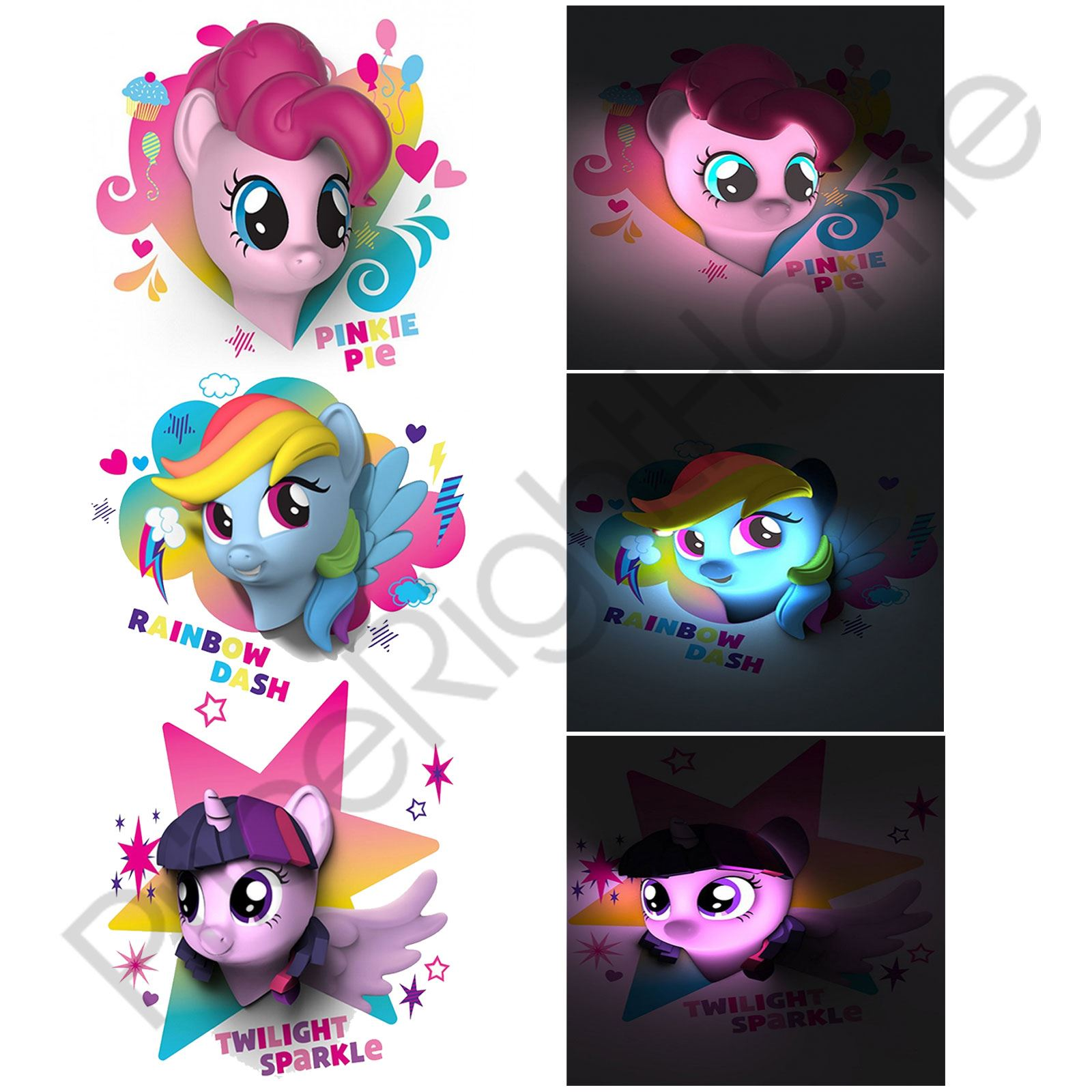 Mi Peque 241 O Pony 3d Led Luz De Pared Pinkie Pie Rainbow