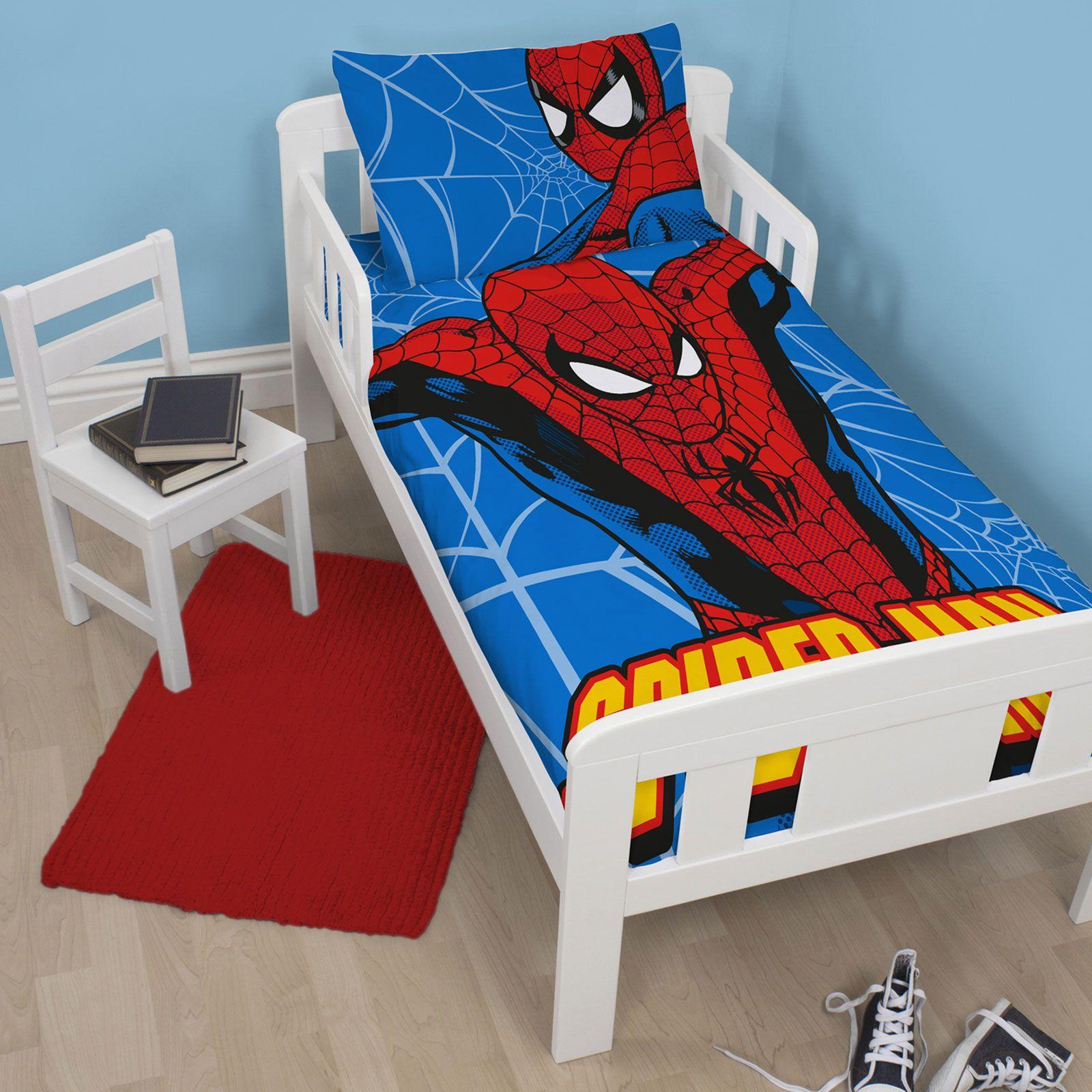 Marvel-Spiderman-conjuntos-de-Funda-De-Edredon-Ninos-Chicos-Ropa-De-Cama-Junior-single-doble