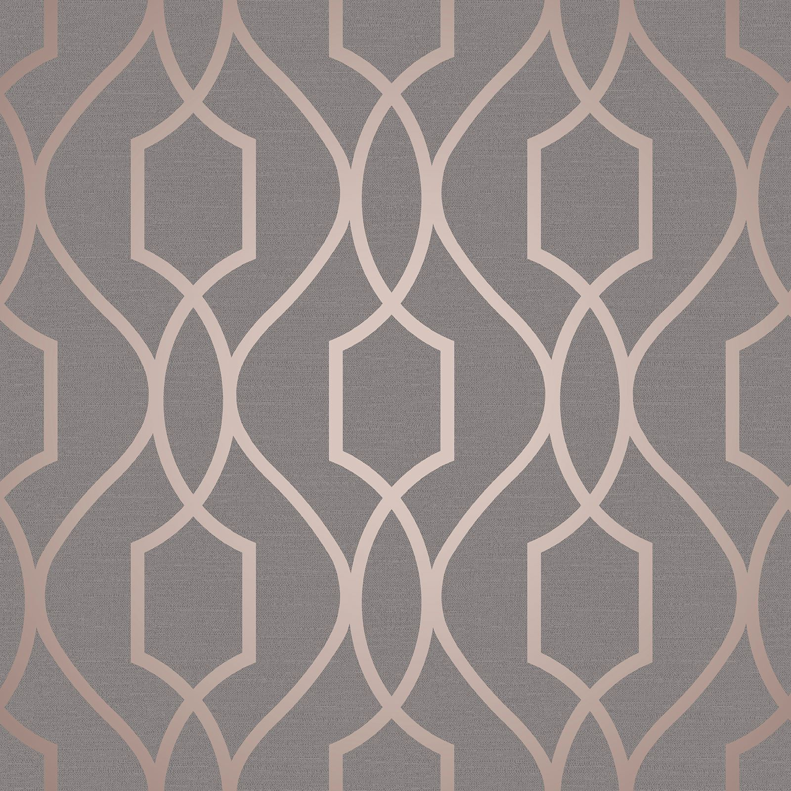 Details About Geometric Wallpaper Various Colours And Designs Grey Rose Gold Feature Wall New