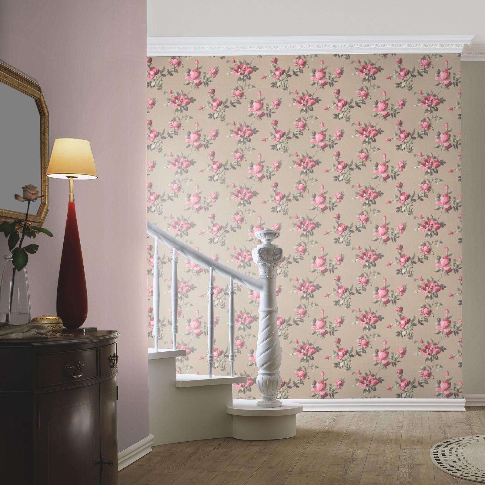emilia rose blumen tapete gold pink rasch 502138 blumen neu ebay. Black Bedroom Furniture Sets. Home Design Ideas
