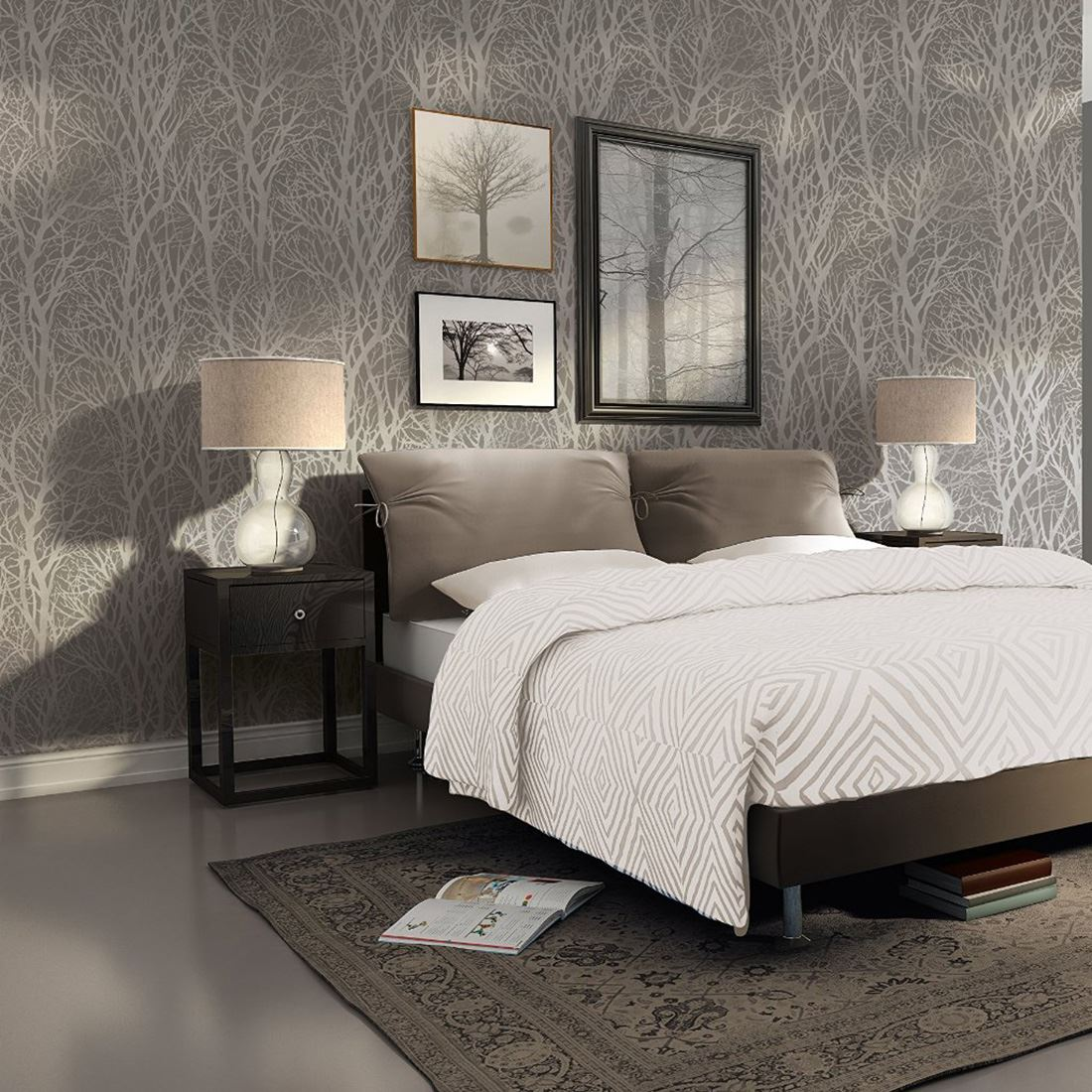 Sleigh Bedroom Sets King Bedroom Jpg Simple Bedroom Colour Design Bedroom Accessories Uk: AS CREATION TREE BRANCHES WALLPAPER FEATURE WALL GREY
