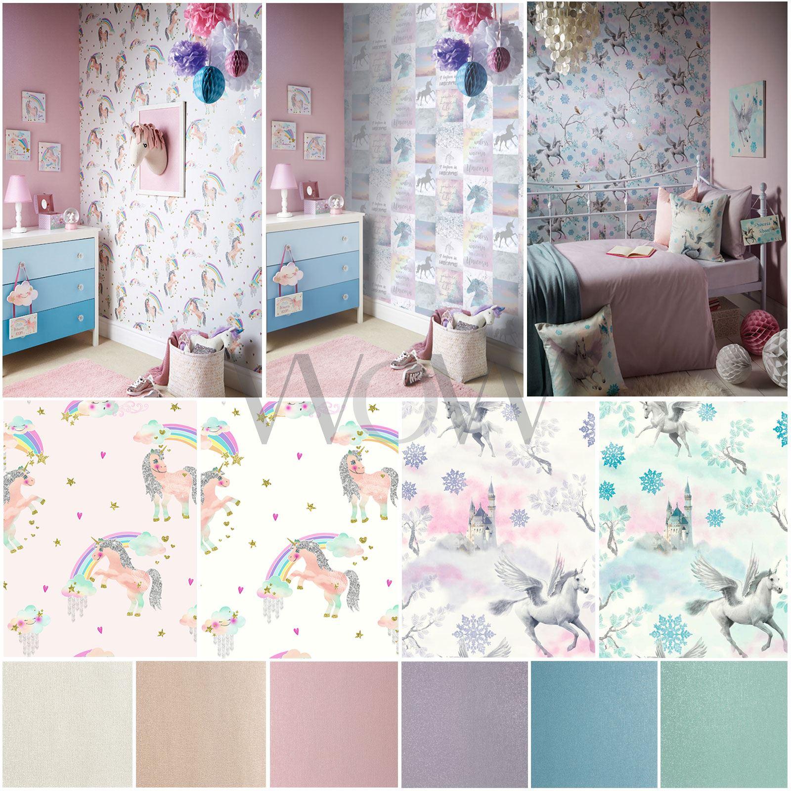 Arthouse Glitter Detail Kids Girls Bedroom Wallpaper: ARTHOUSE RAINBOW & FAIRYTALE UNICORN + GLITTER WALLPAPER