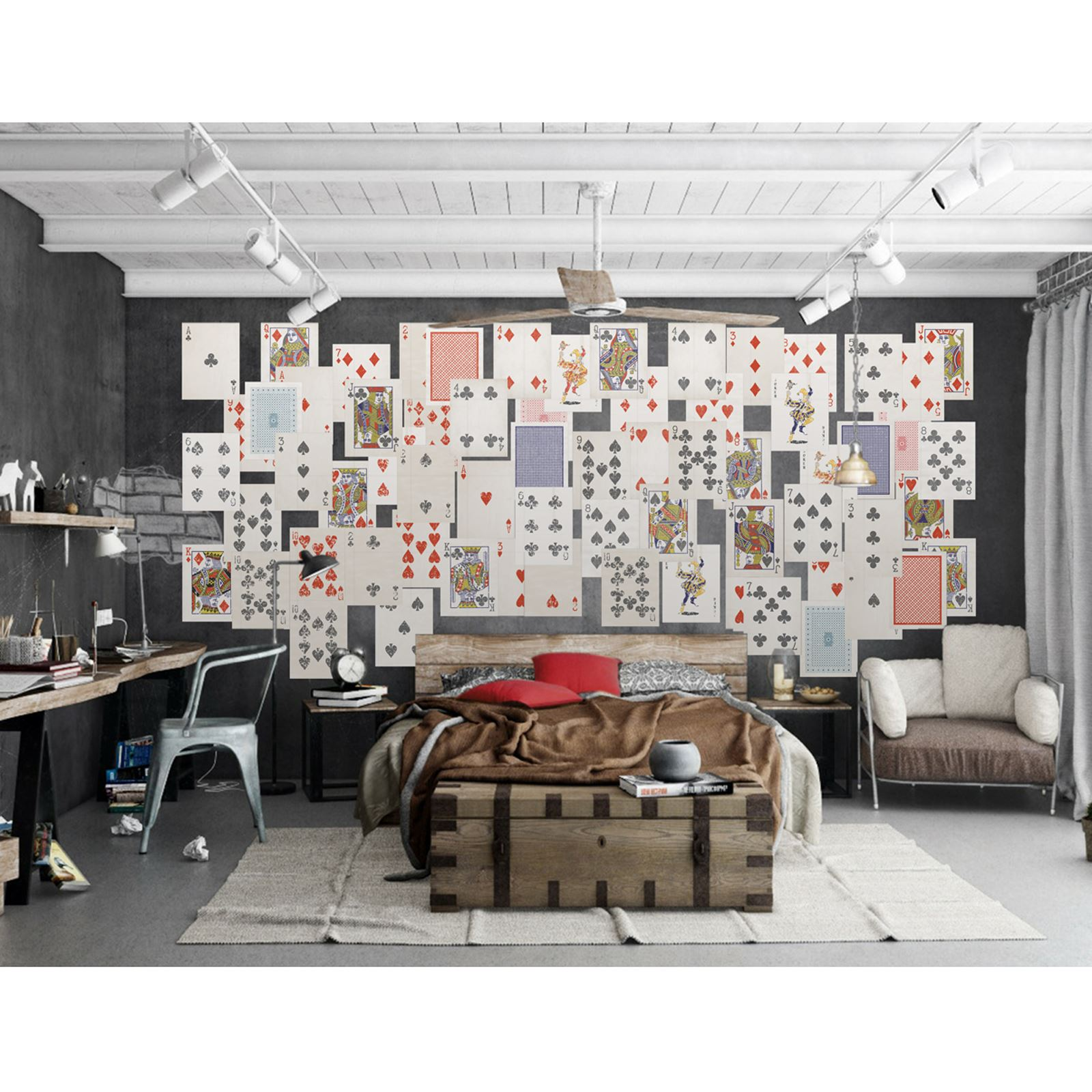 CREATIVE COLLAGE PLAYING CARDS DESIGNER WALL MURAL - 64 PIECE WALLPAPER NEW