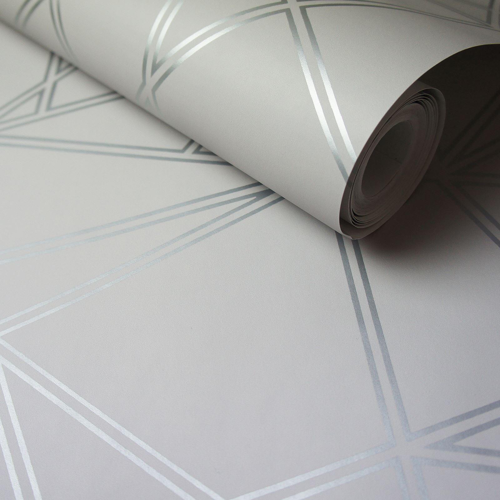 Paladium Geometric Wallpaper Grey Silver Holden 90111